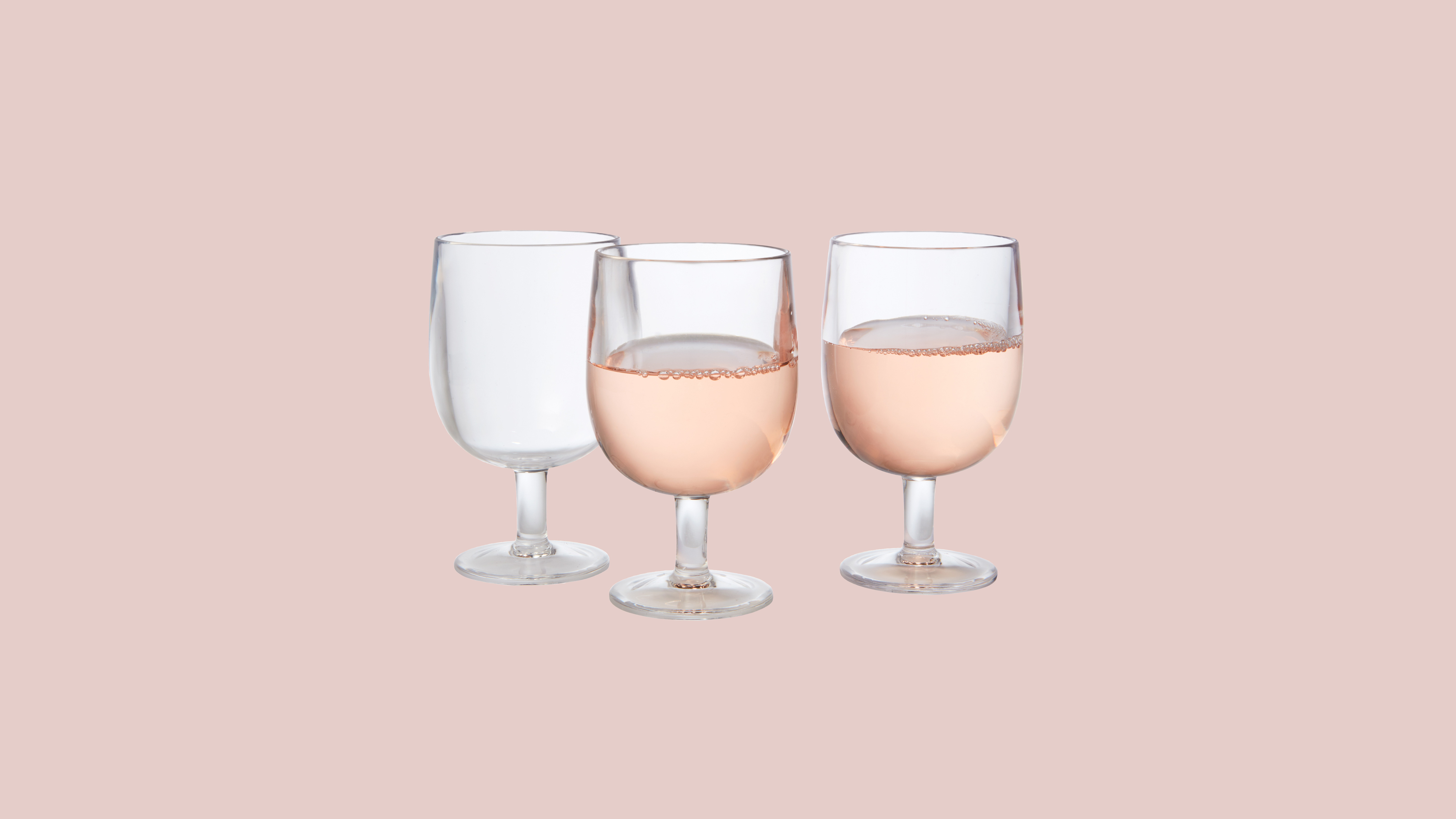 Crate & Barrel stacking acrylic clear wineglasses