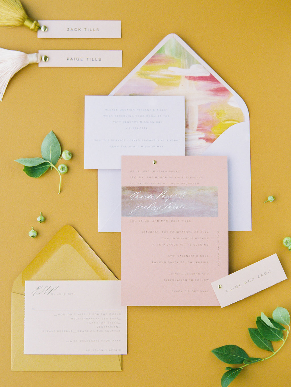 paige zack wedding pink and yellow invites
