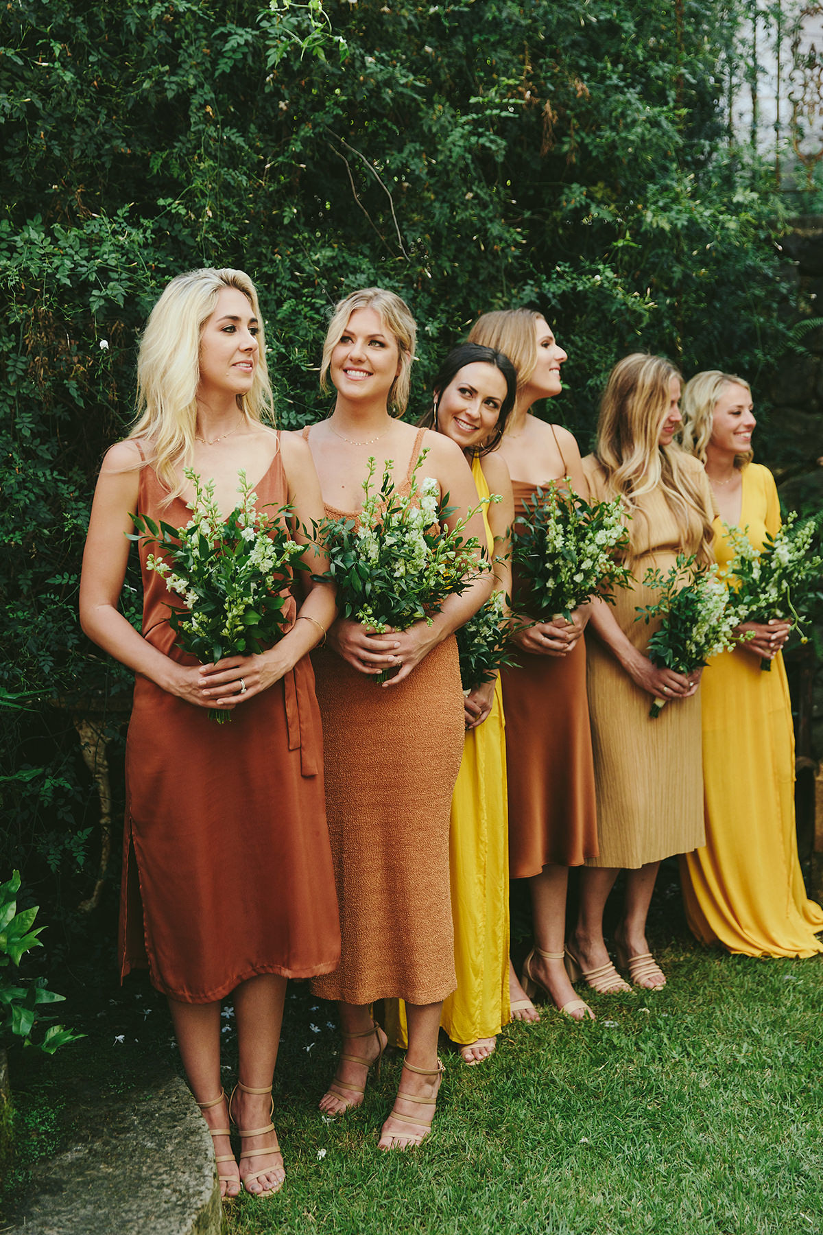 sarah daniel wedding bridesmaids in orange and yellow