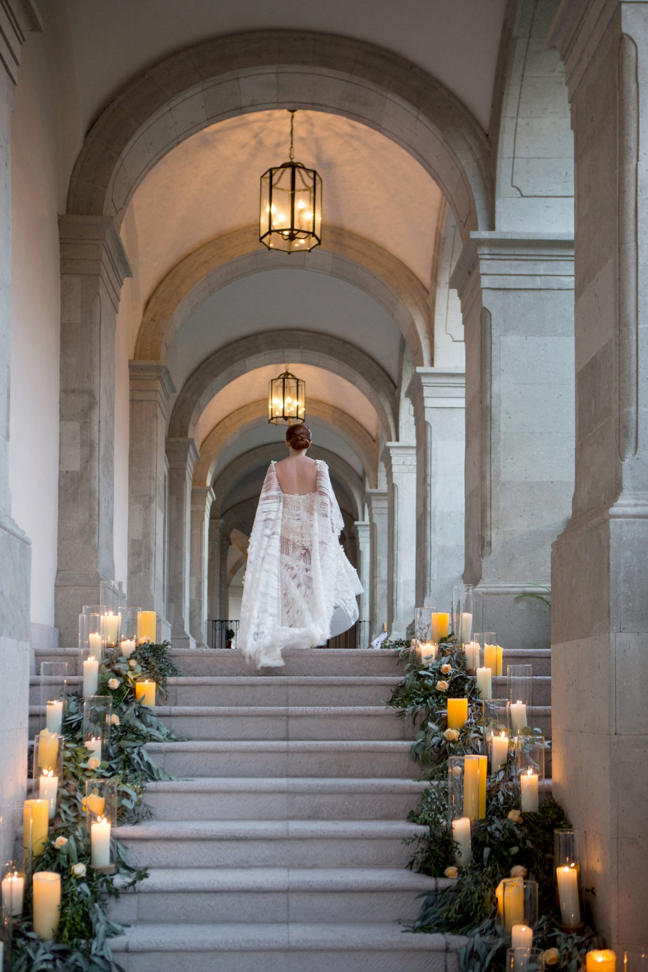 candlelit staircase grand entrance