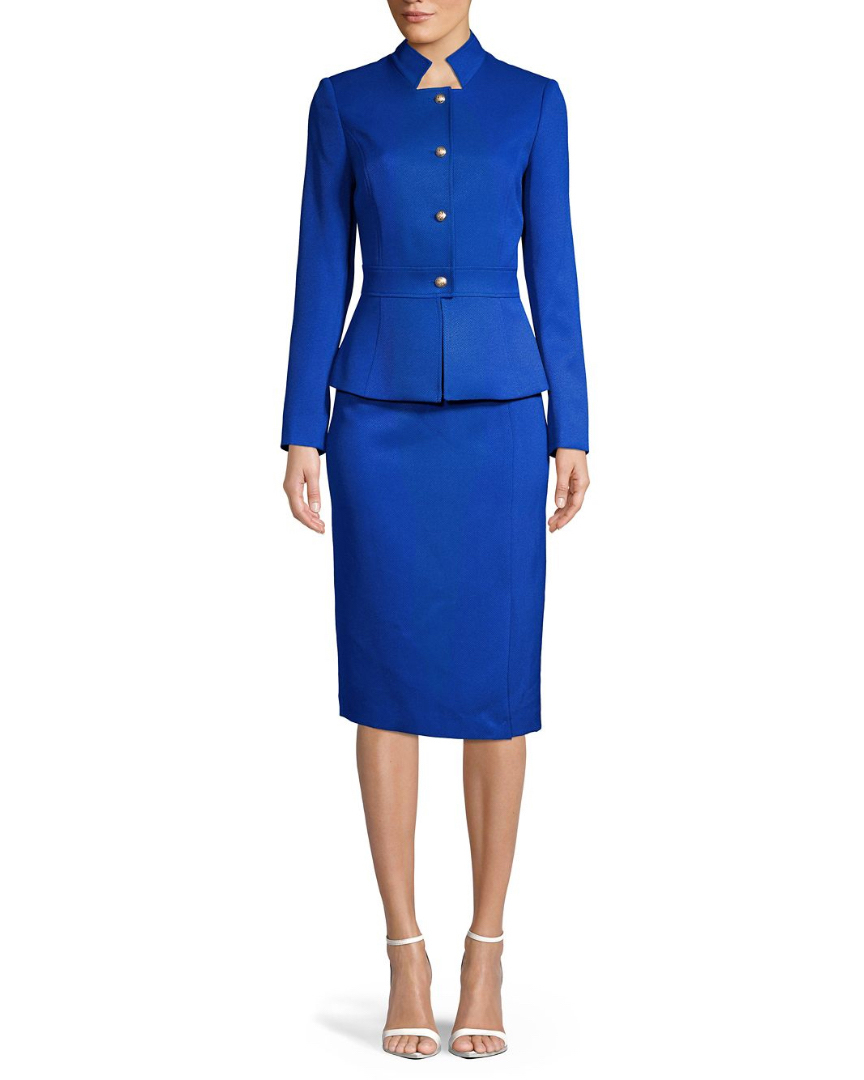 Levine Stand Collar Two-Piece Skirt Suit
