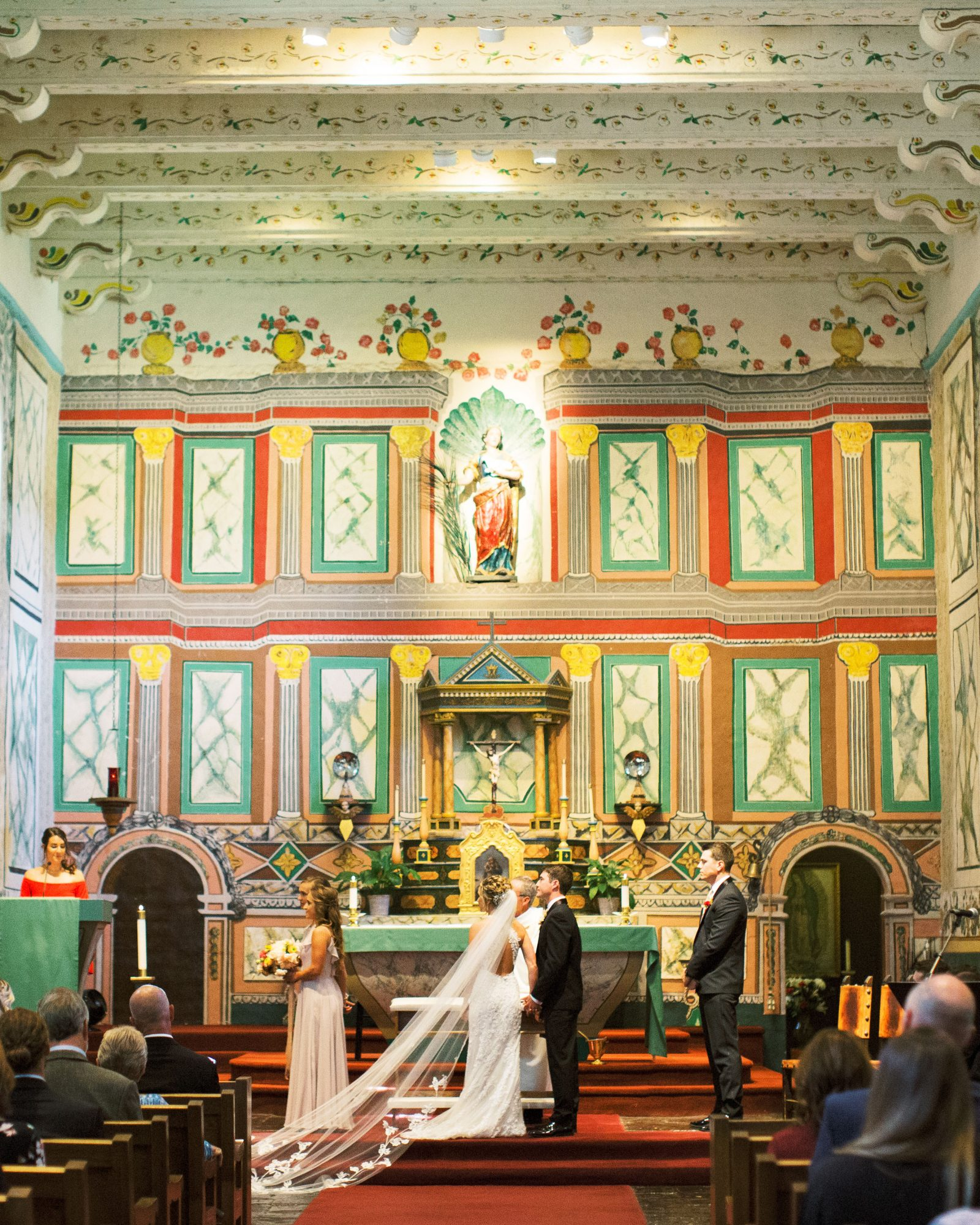 wedding ceremony colorful indoor cathedral