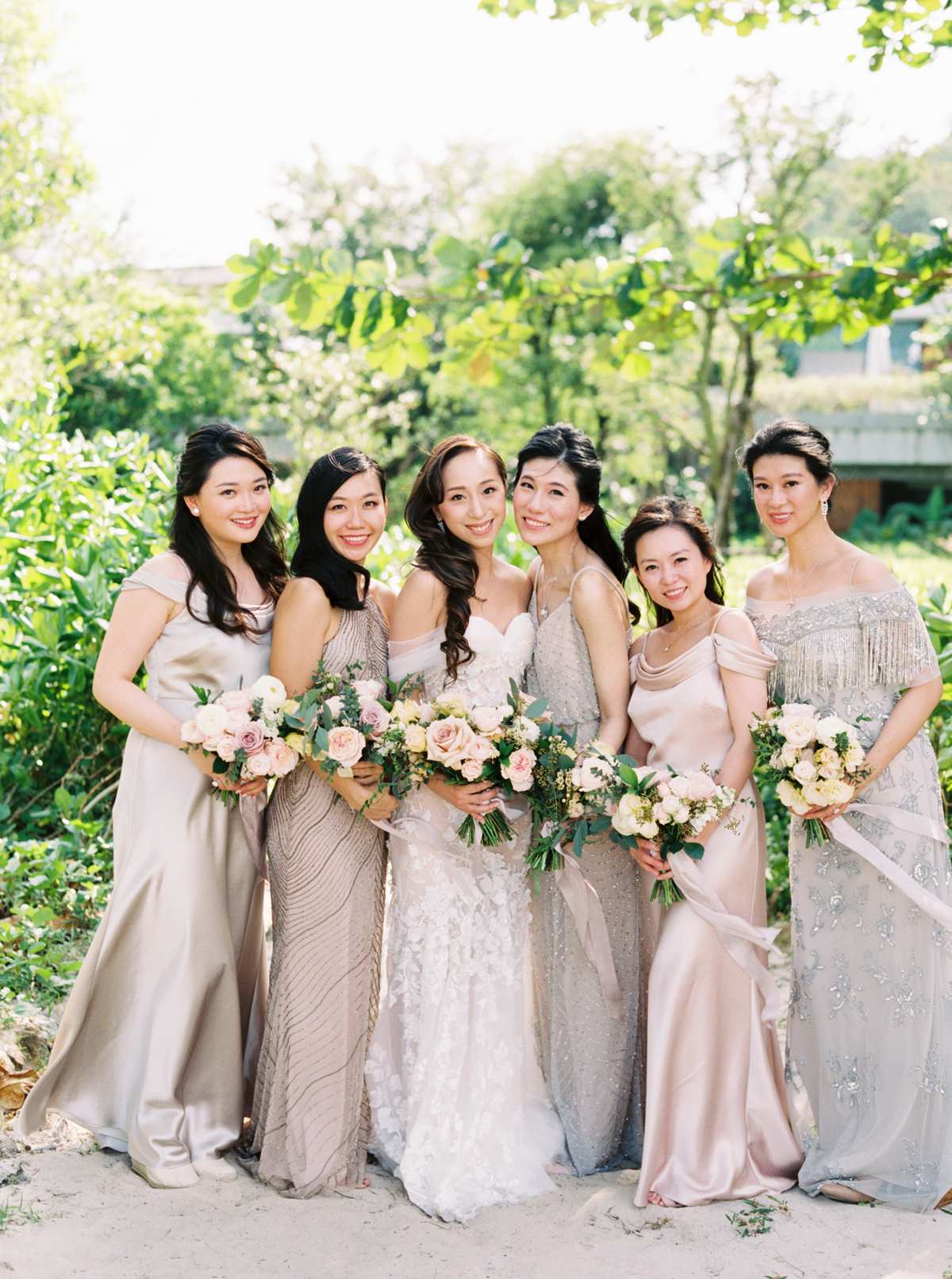 Adrianna Papell and Jenny Yoo bridesmaids dresses