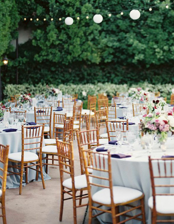 franciscan gardens round tables and gold chairs