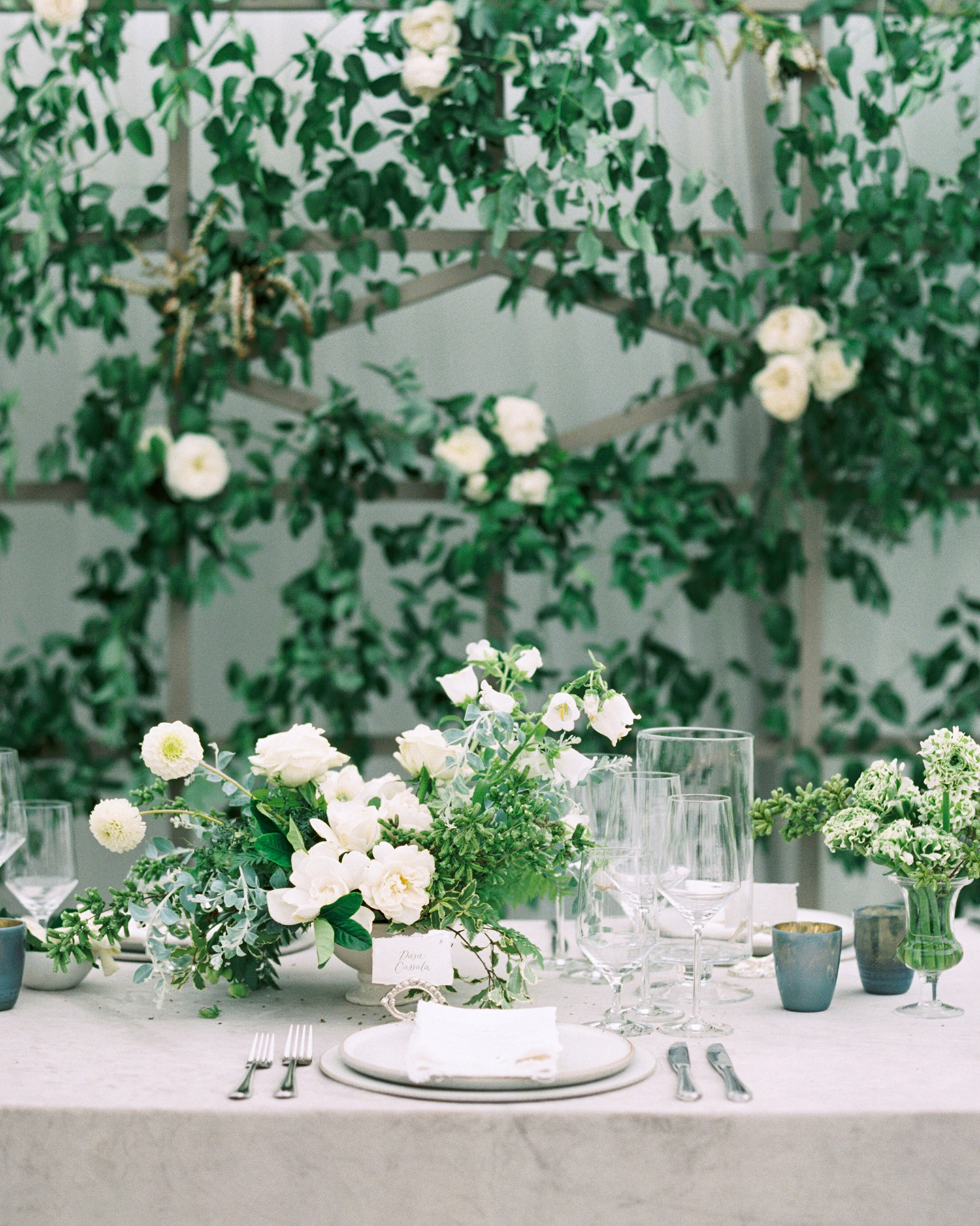 katie mike wedding lush green and floral centerpiece