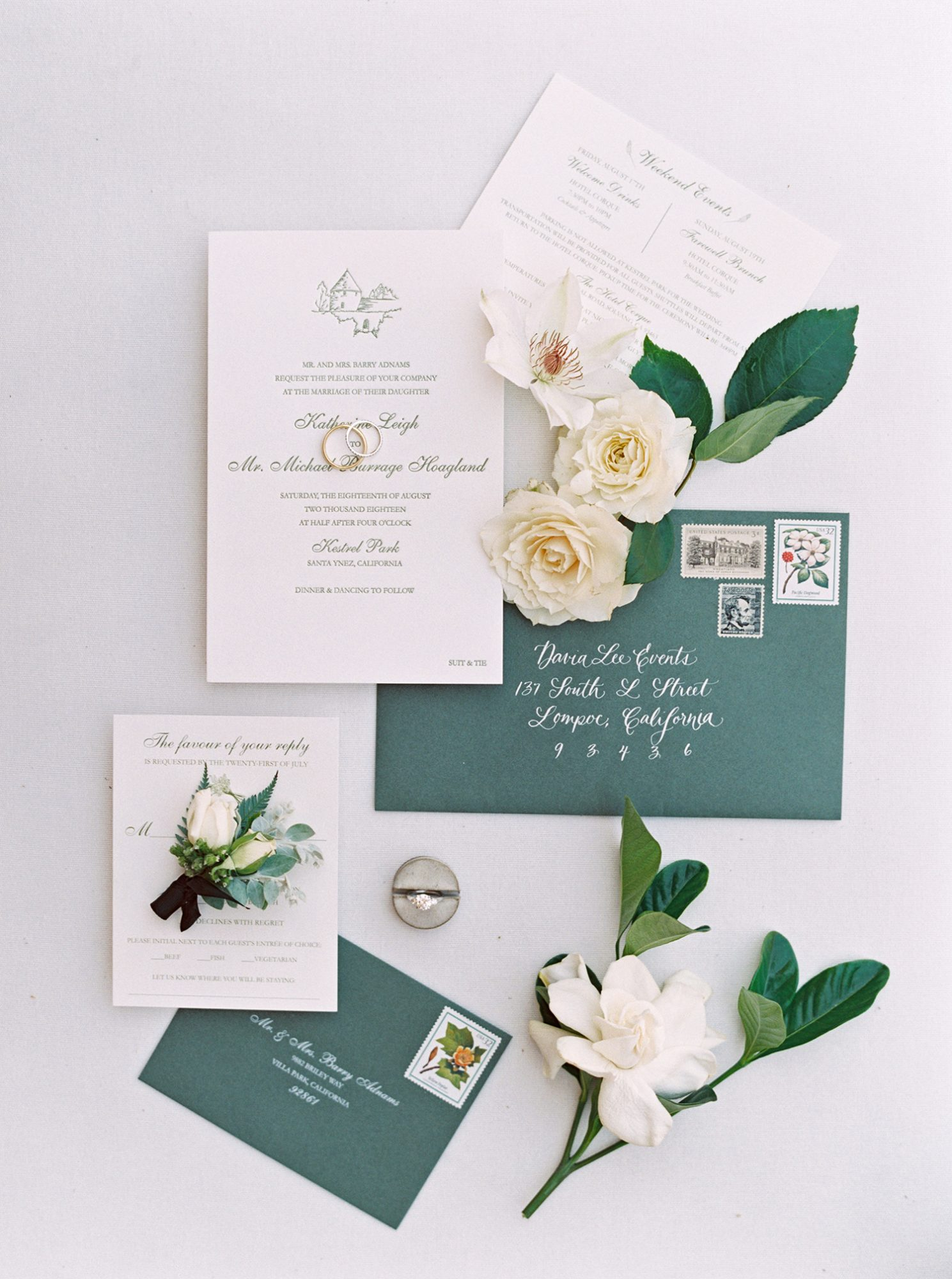 katie mike wedding invites green and white