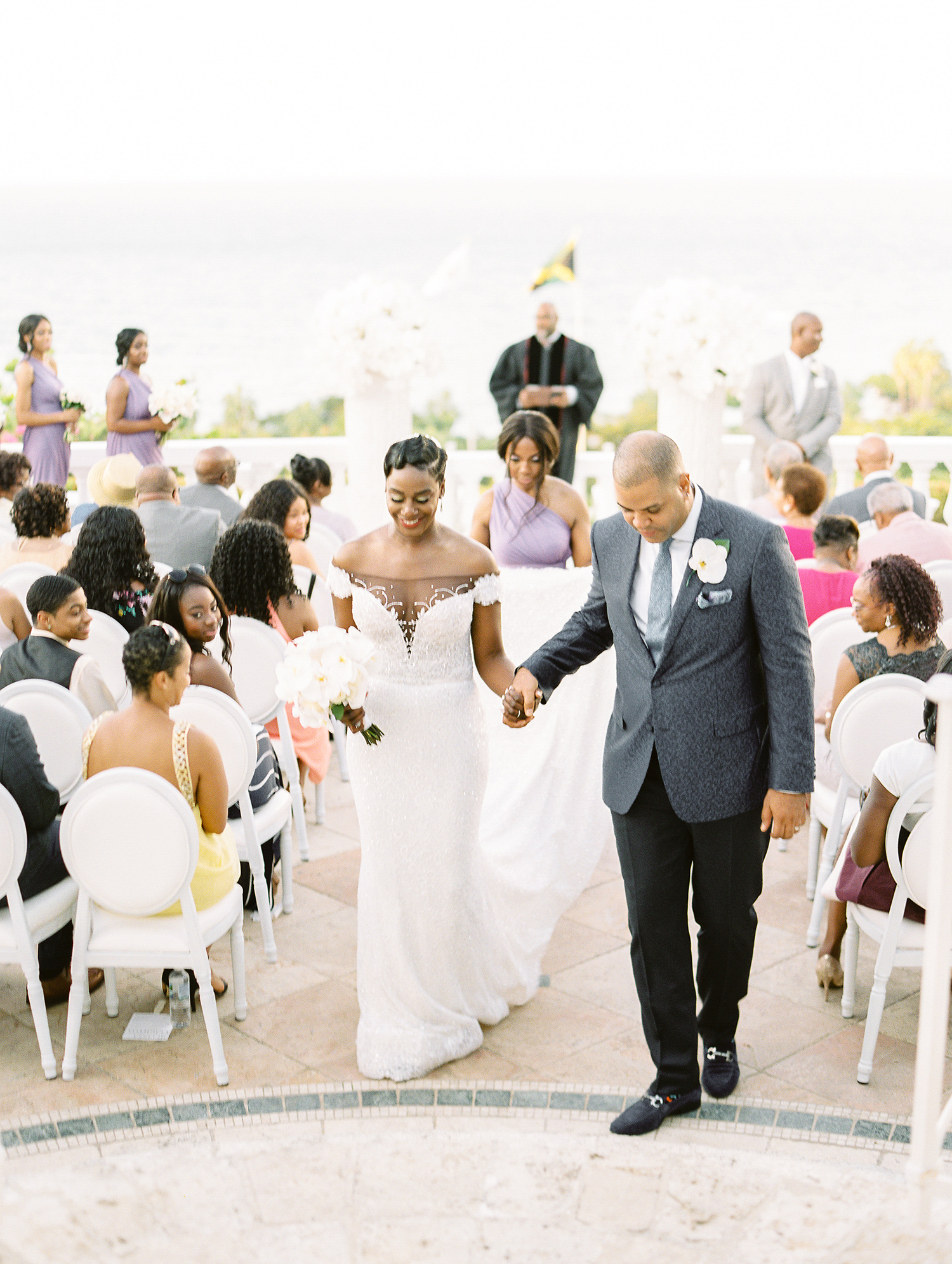 melissa leighton wedding recessional bride and groom