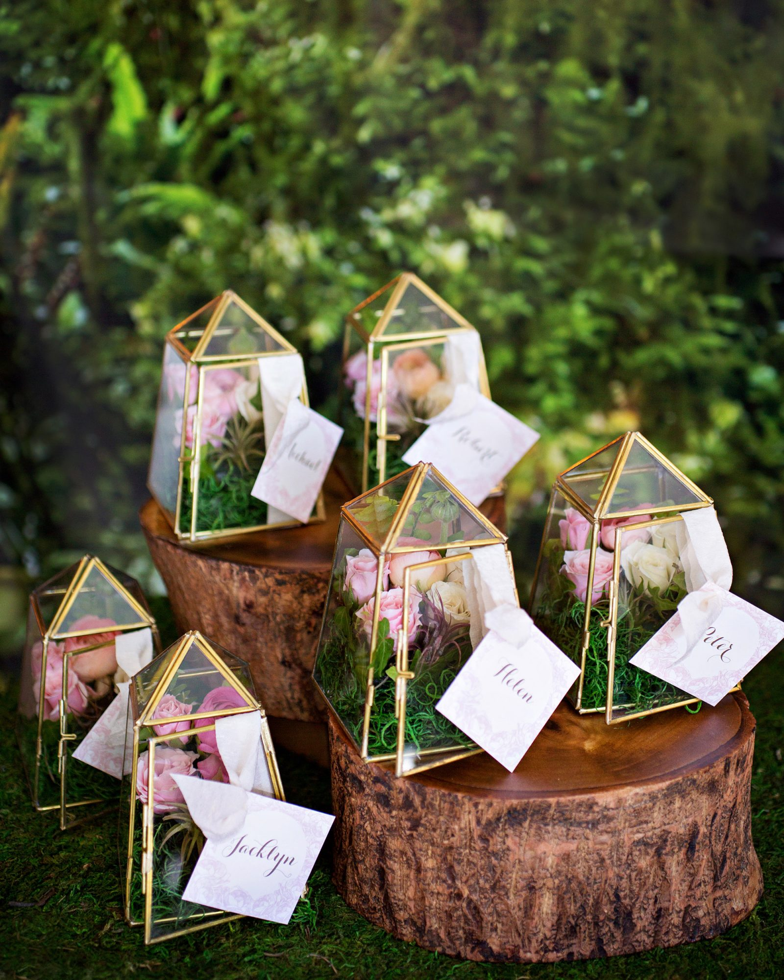 terrarium wedding ideas escort cards