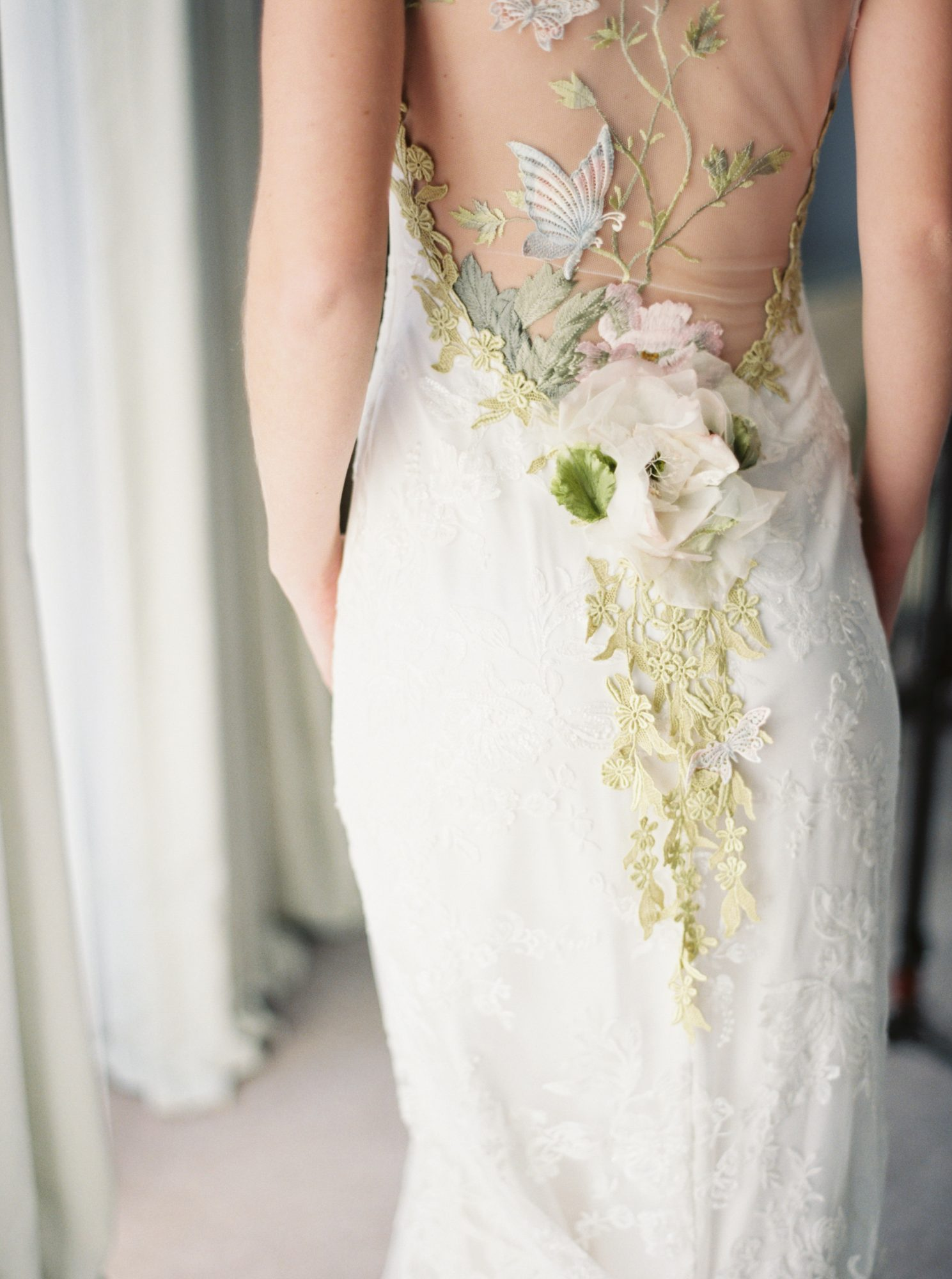 white wedding dress with colorful pastel accents