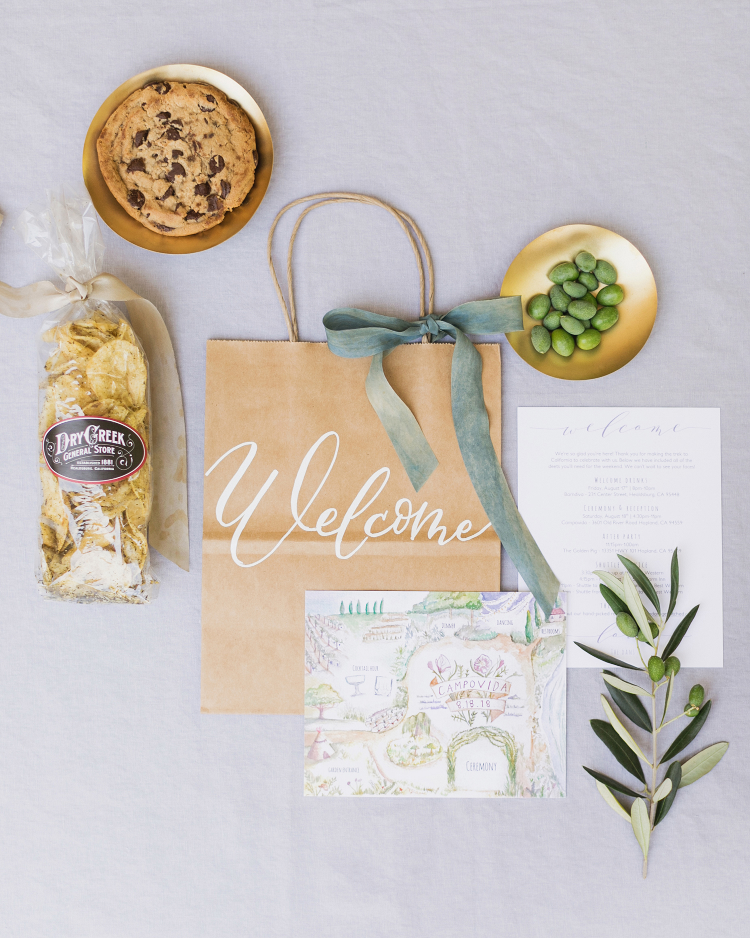 guests welcome bag of goodies