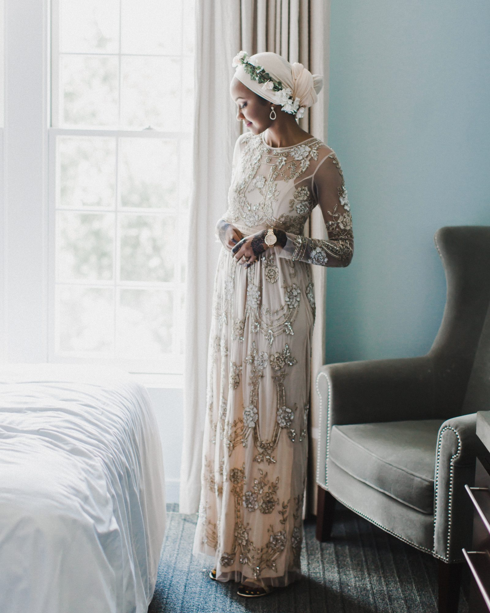 long sleeved wedding beaded dress