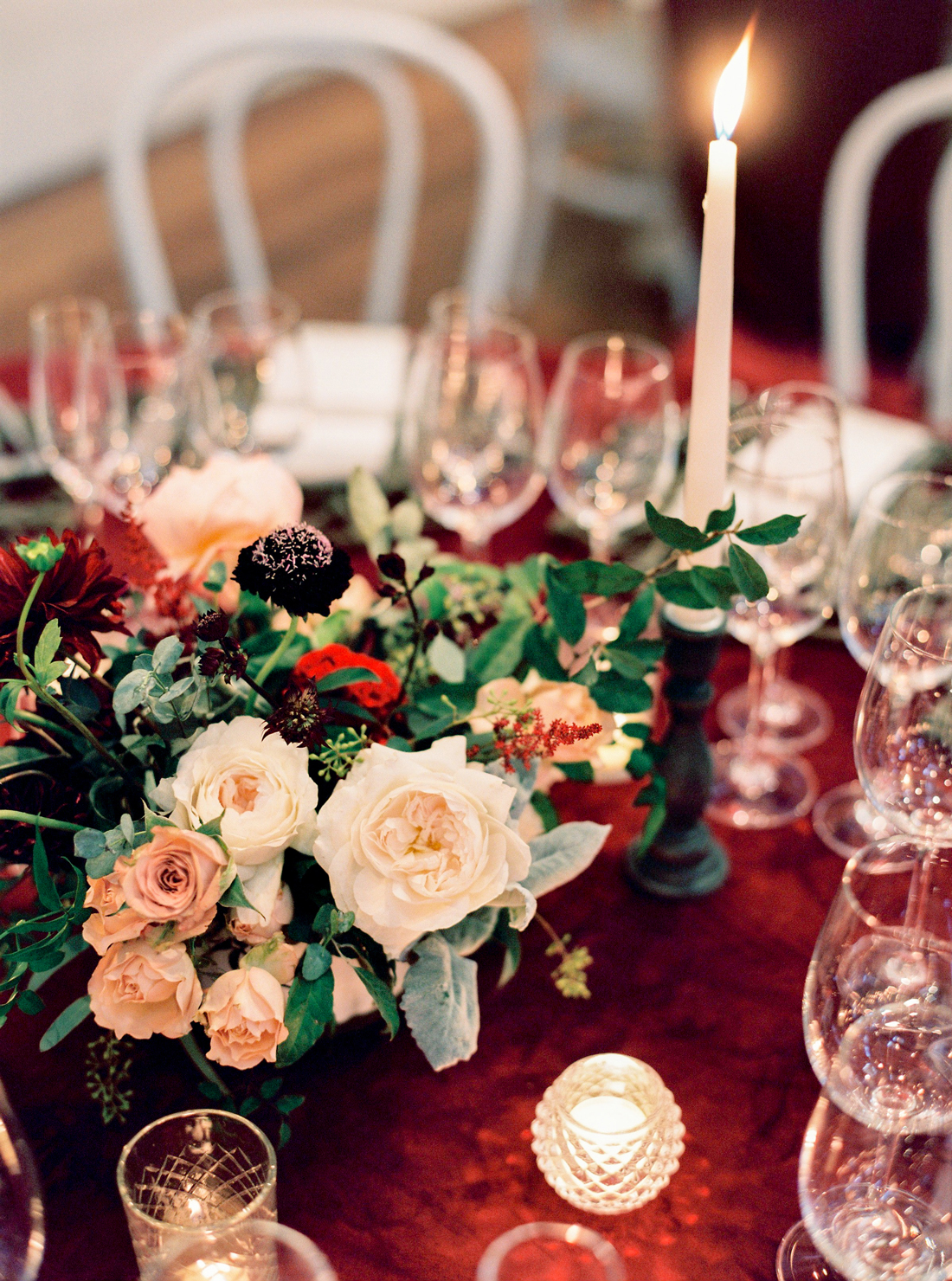 low floral and greenery centerpieces