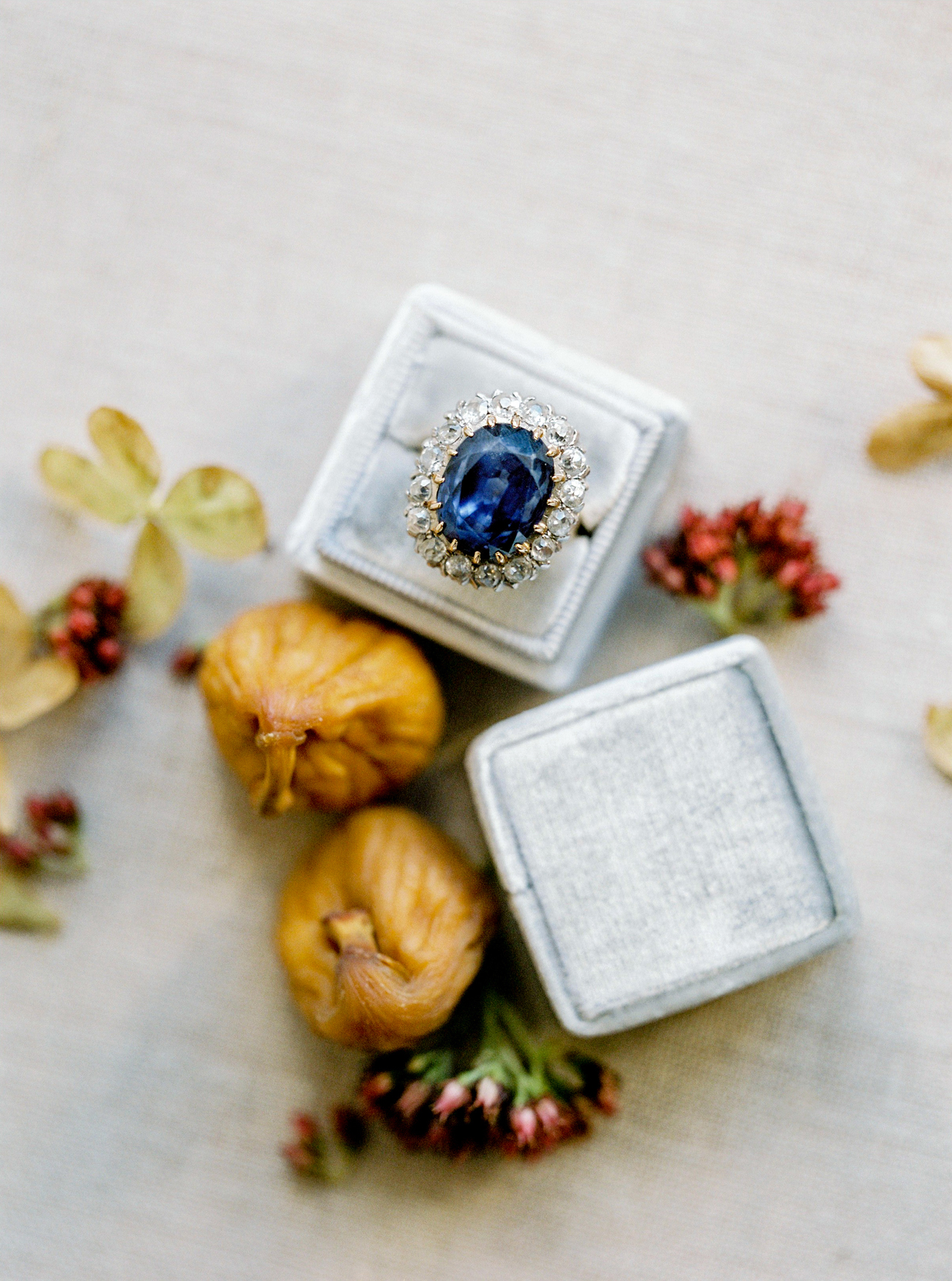 vintage blue stone ring with diamonds