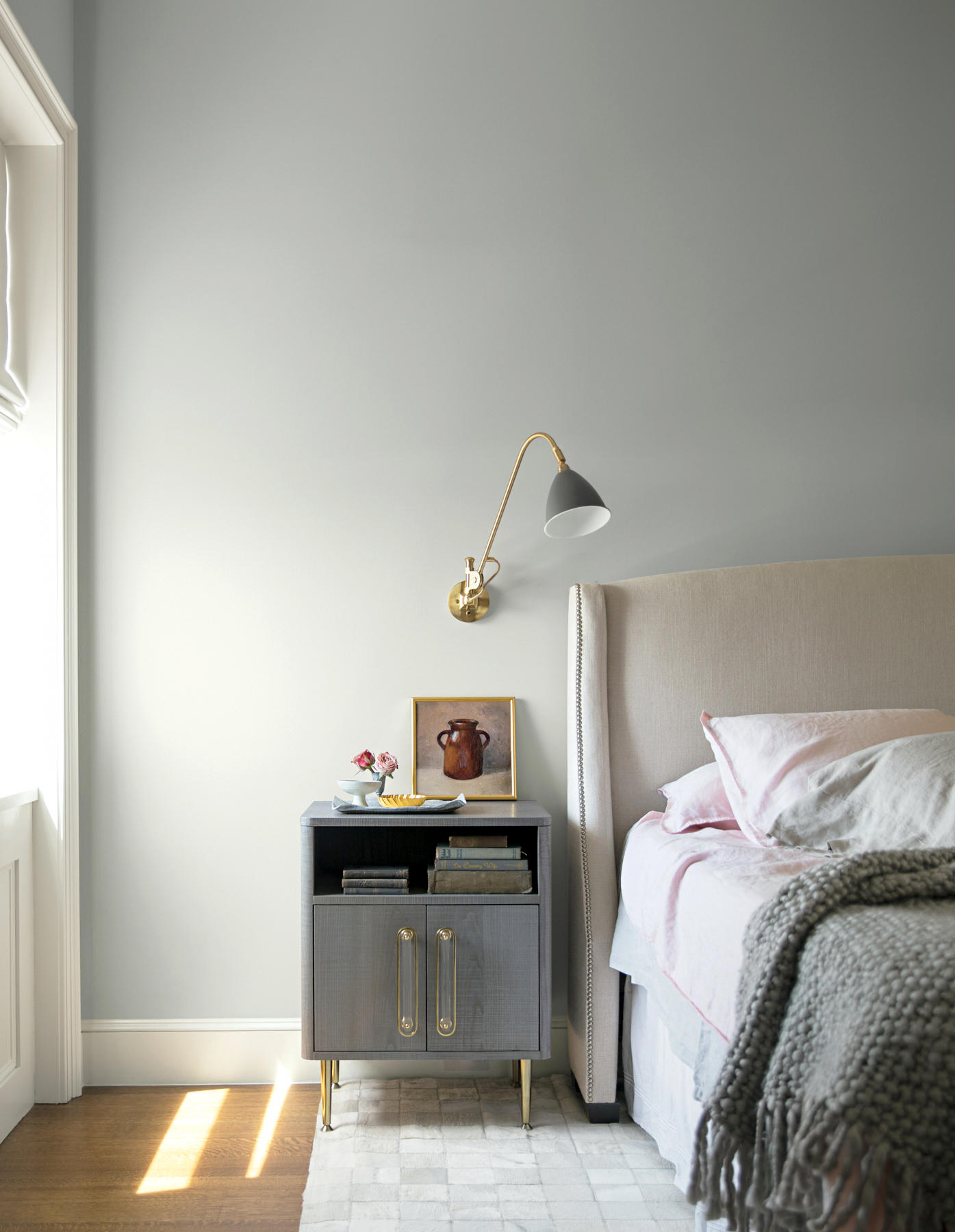 benjamin moore metropolitan swatch on bedroom wall