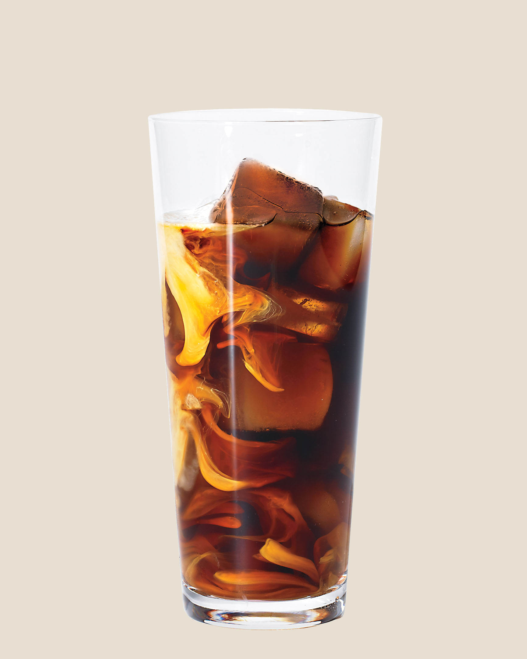 a glass of iced coffee