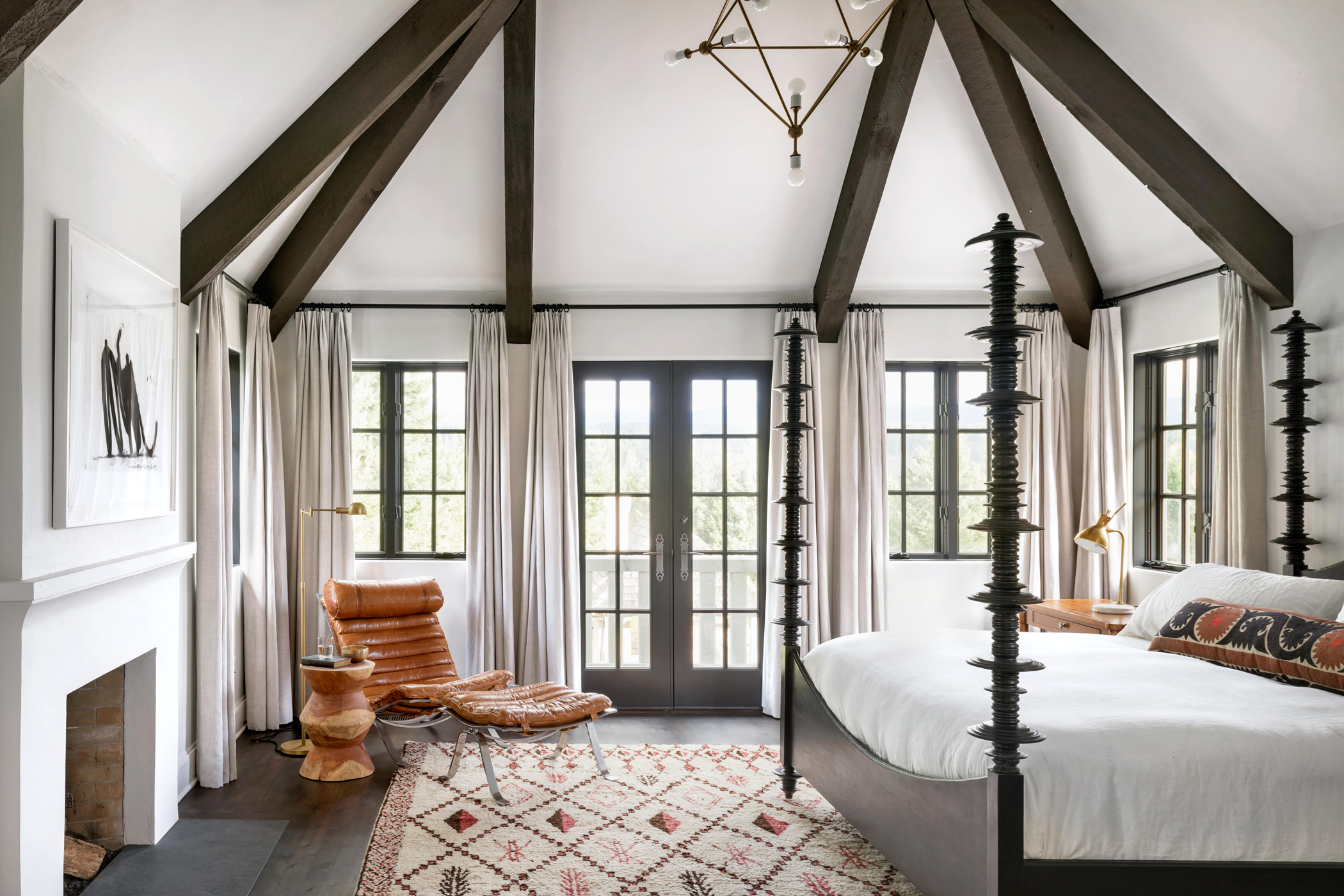 white master bedroom with mahogany four poster bed