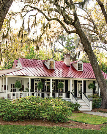 front porch house in trees savannah