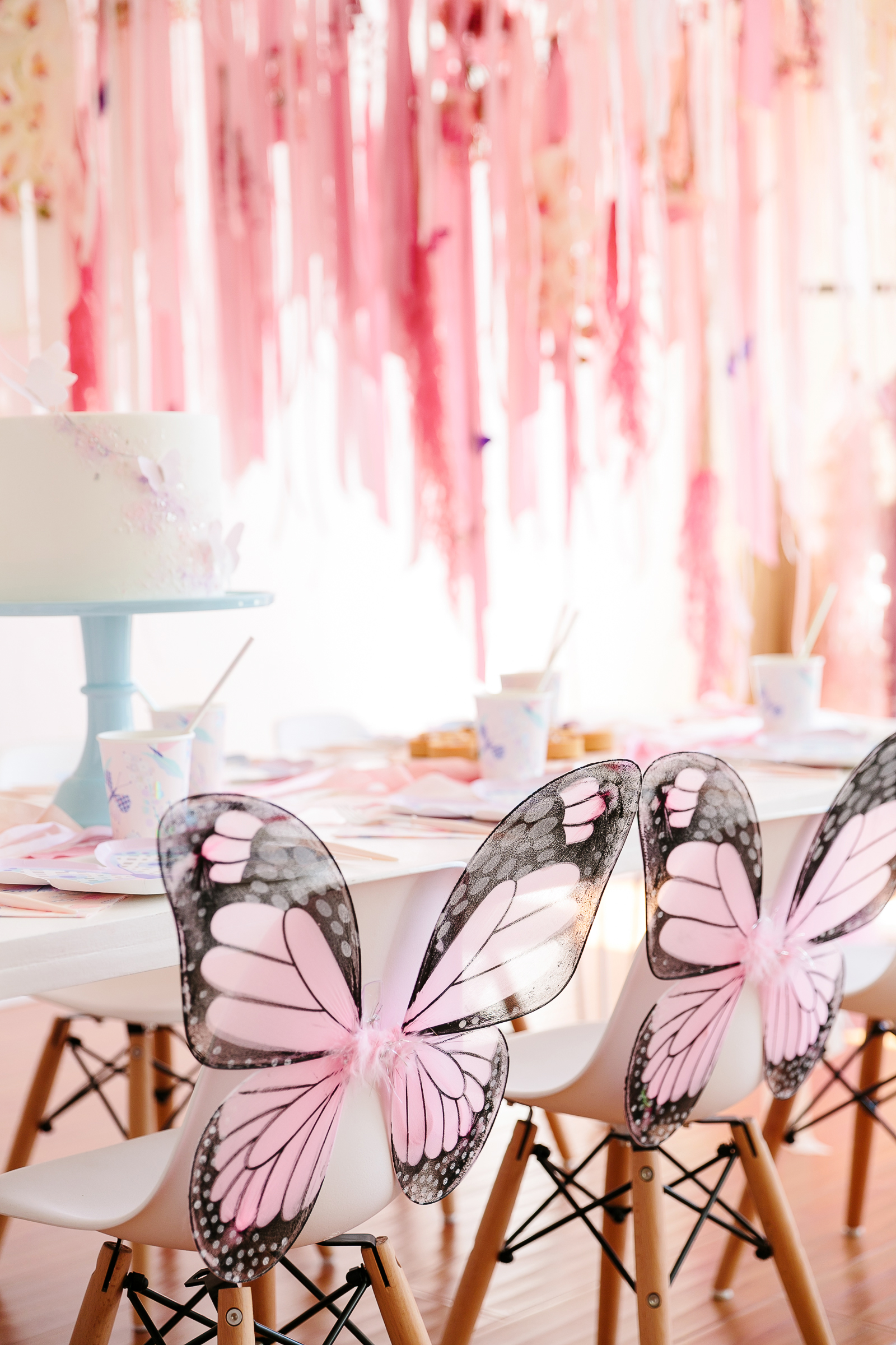 butterfly party table cake and butterfly chairs