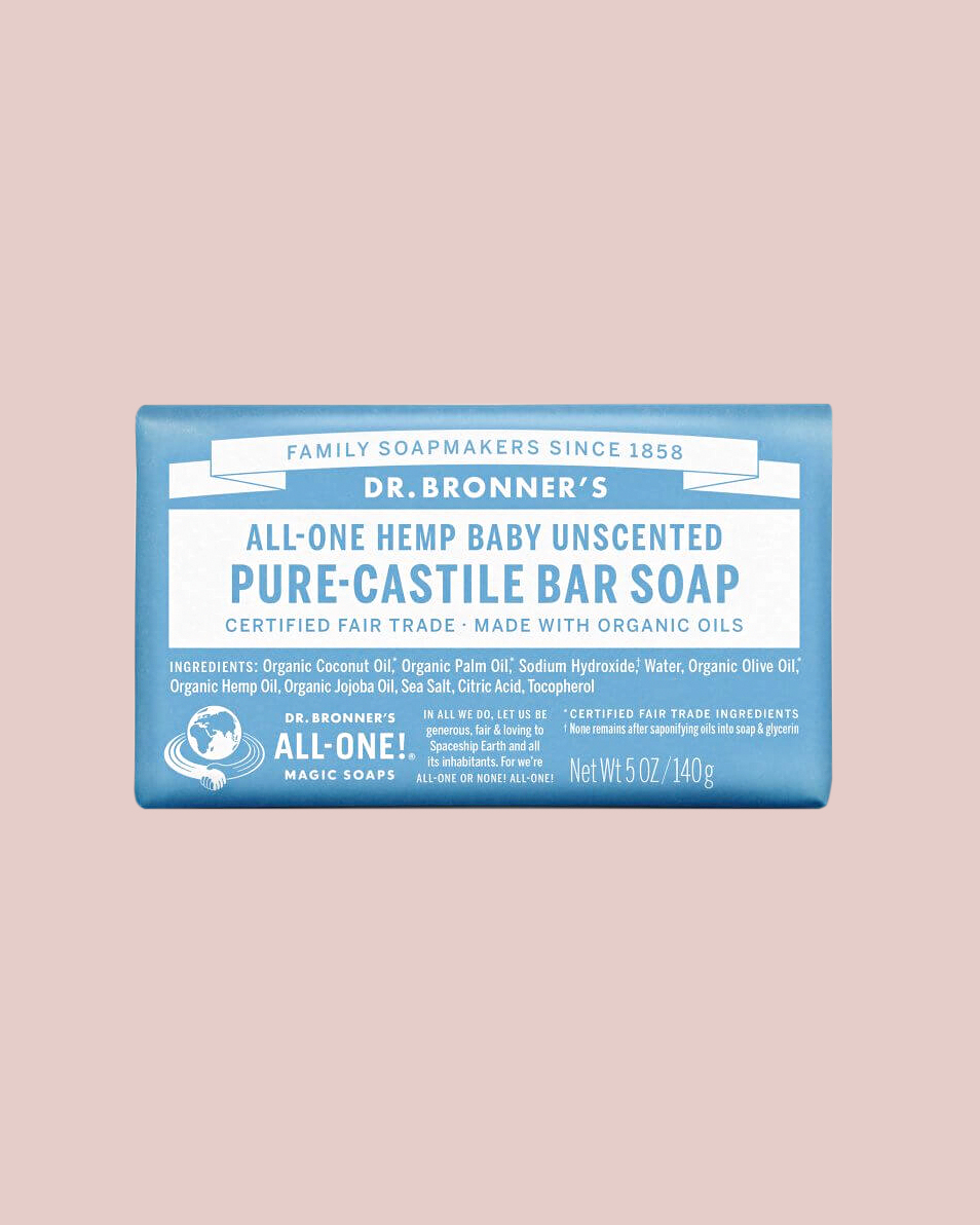 Dr. Bronner's All-One Hemp Baby Unscented Pure Castile Bar Soap