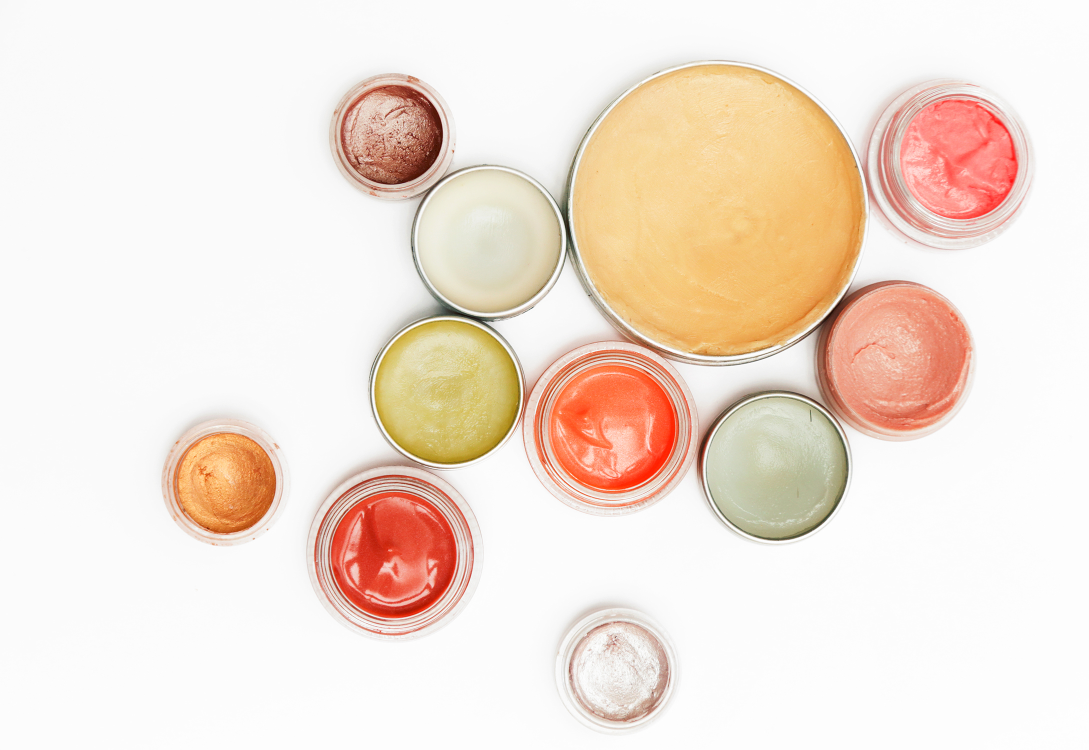top view of decorative cosmetic lip balm containers