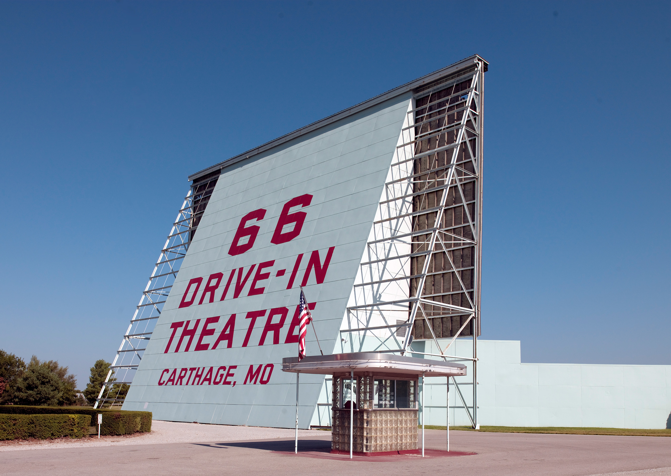 This is the only theater on this list that has earned status on the National Register of Historic Places. The 66 Drive-In, as it's name suggests, is just off historic Route 66—it originally opened after World War II ended in 1949, and it had room for 400 cars that were traveling along the route out west. It originally closed in 1985, but it was reopened in 1997 and has been showing double features ever since.