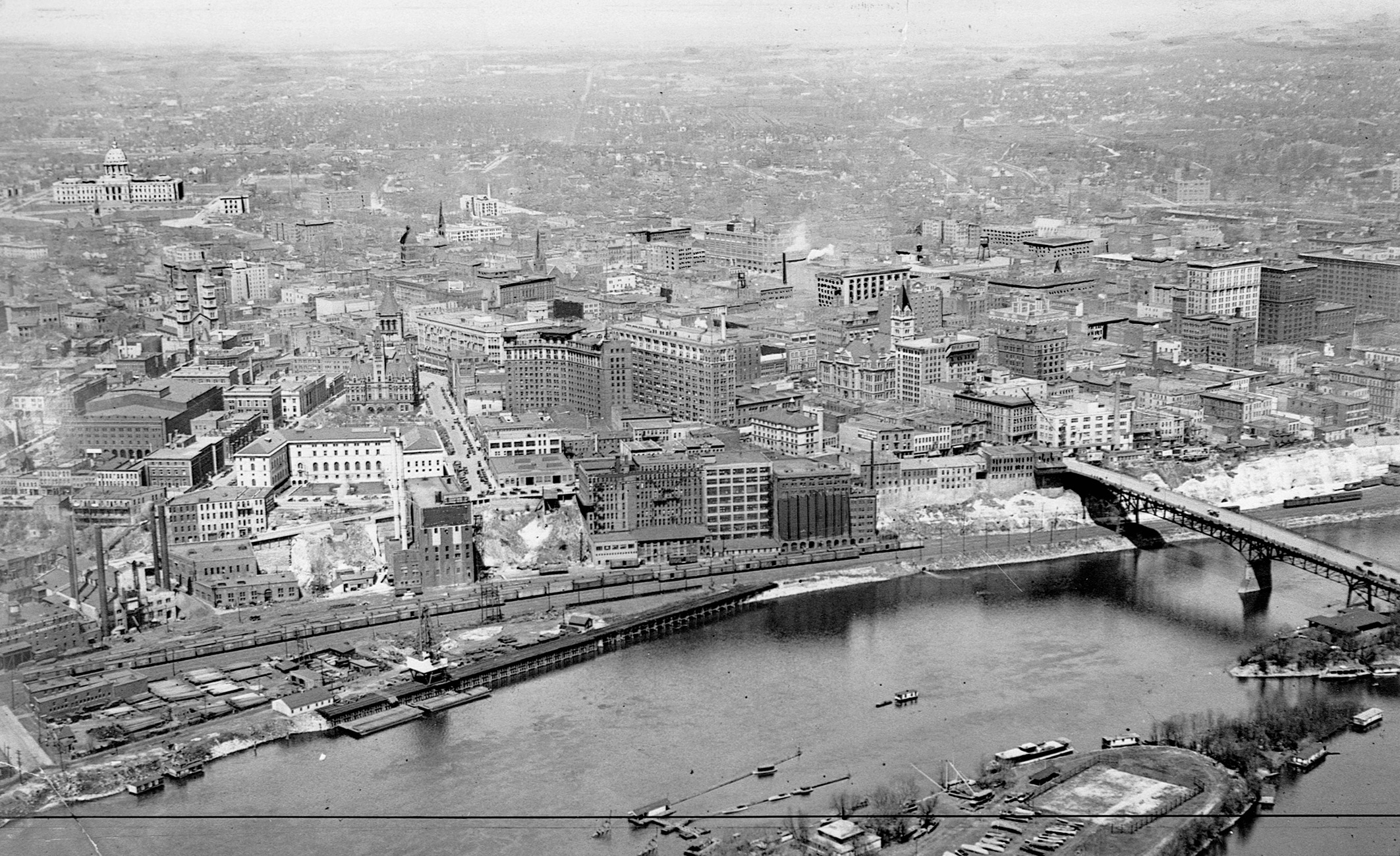aerial view black and white St. Paul