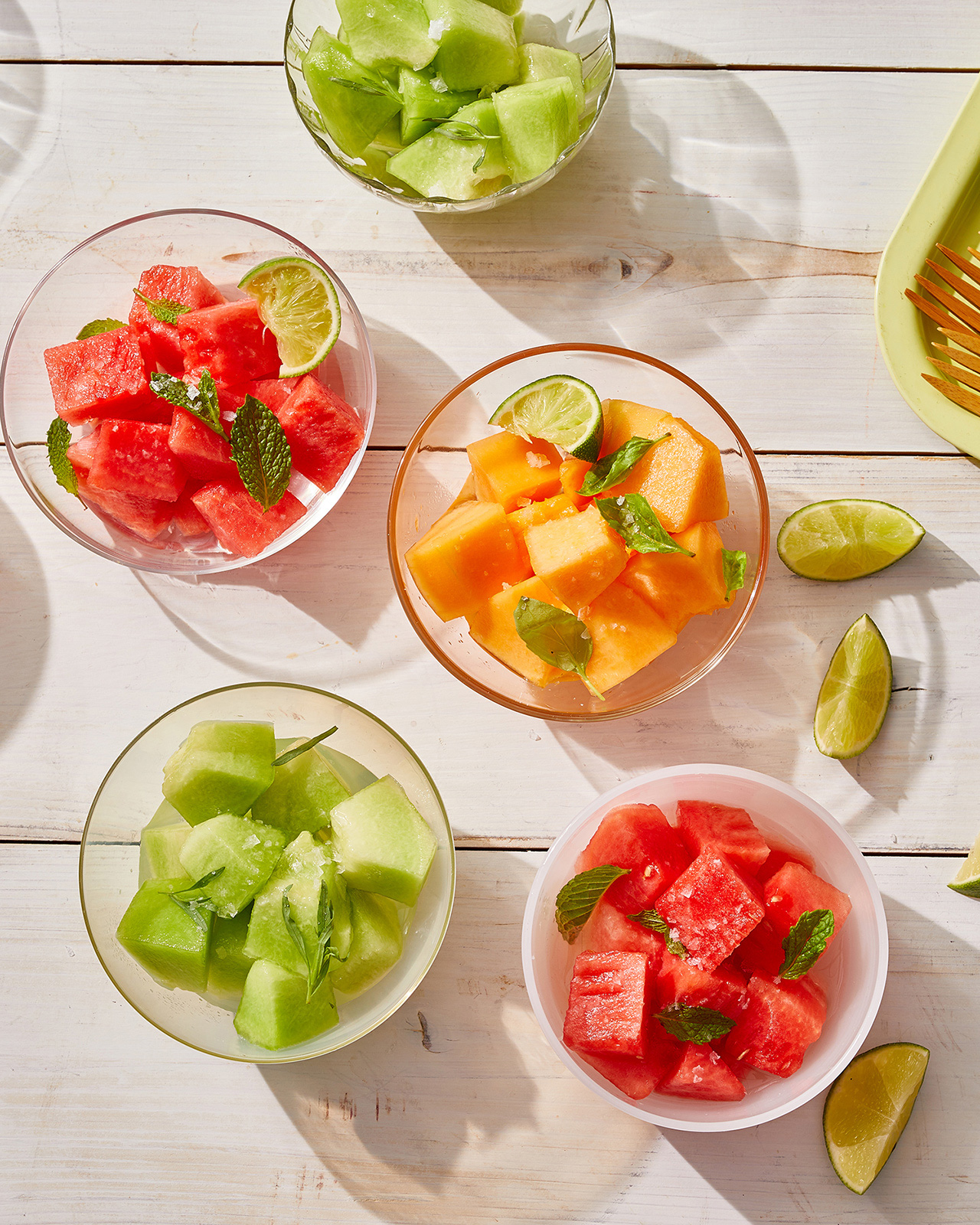 boozy melon fruit in glass bowls