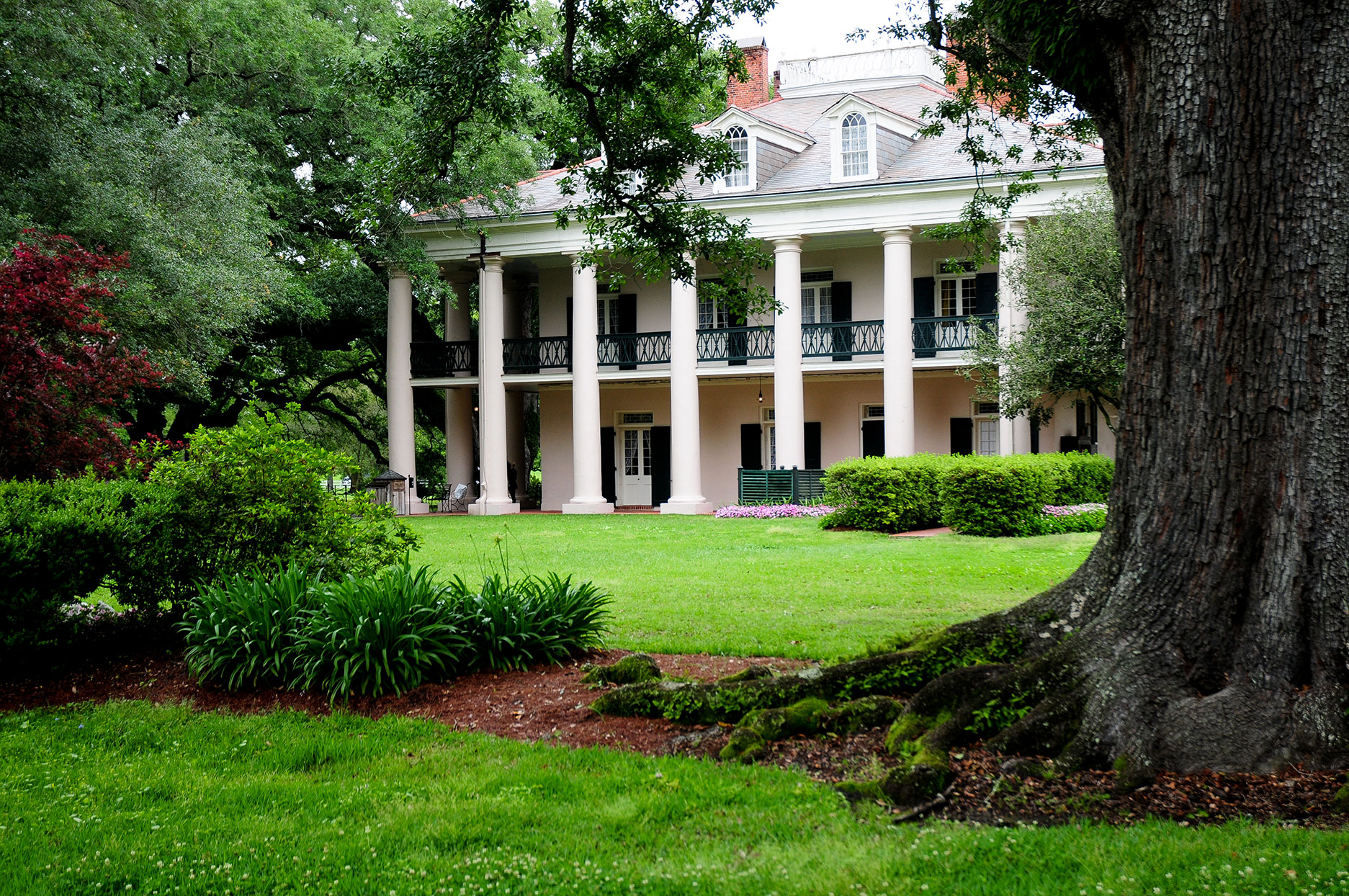 antebellum home style with lush green lawn