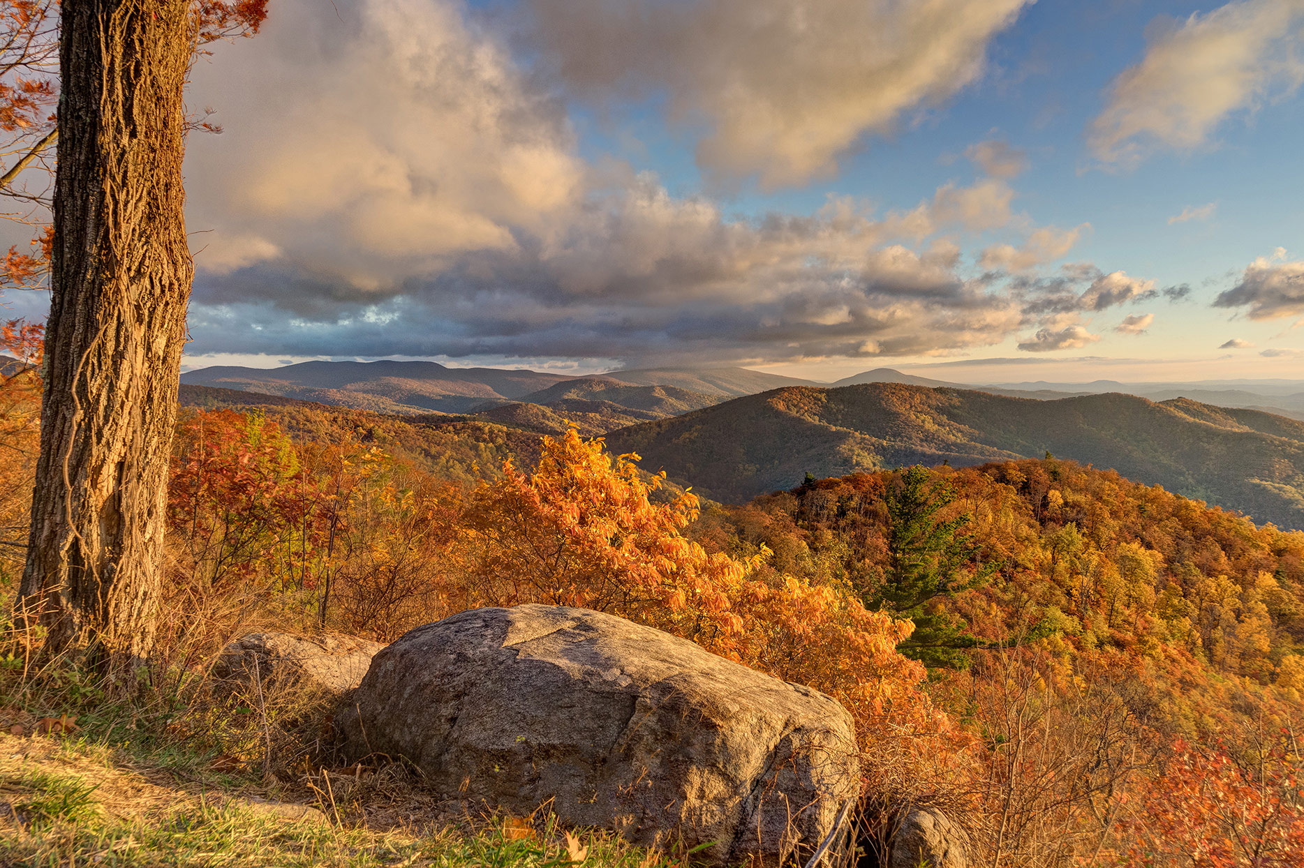 Peak fall colors at Hazel Mountain overlook along Skyline Drive