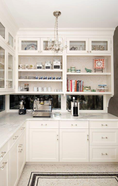 pantry organization white kitchen with glass front cabinets
