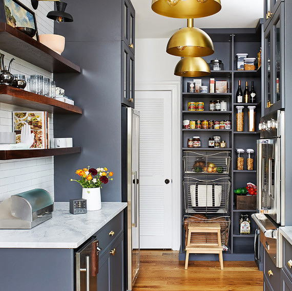 pantry organization in gray blue kitchen