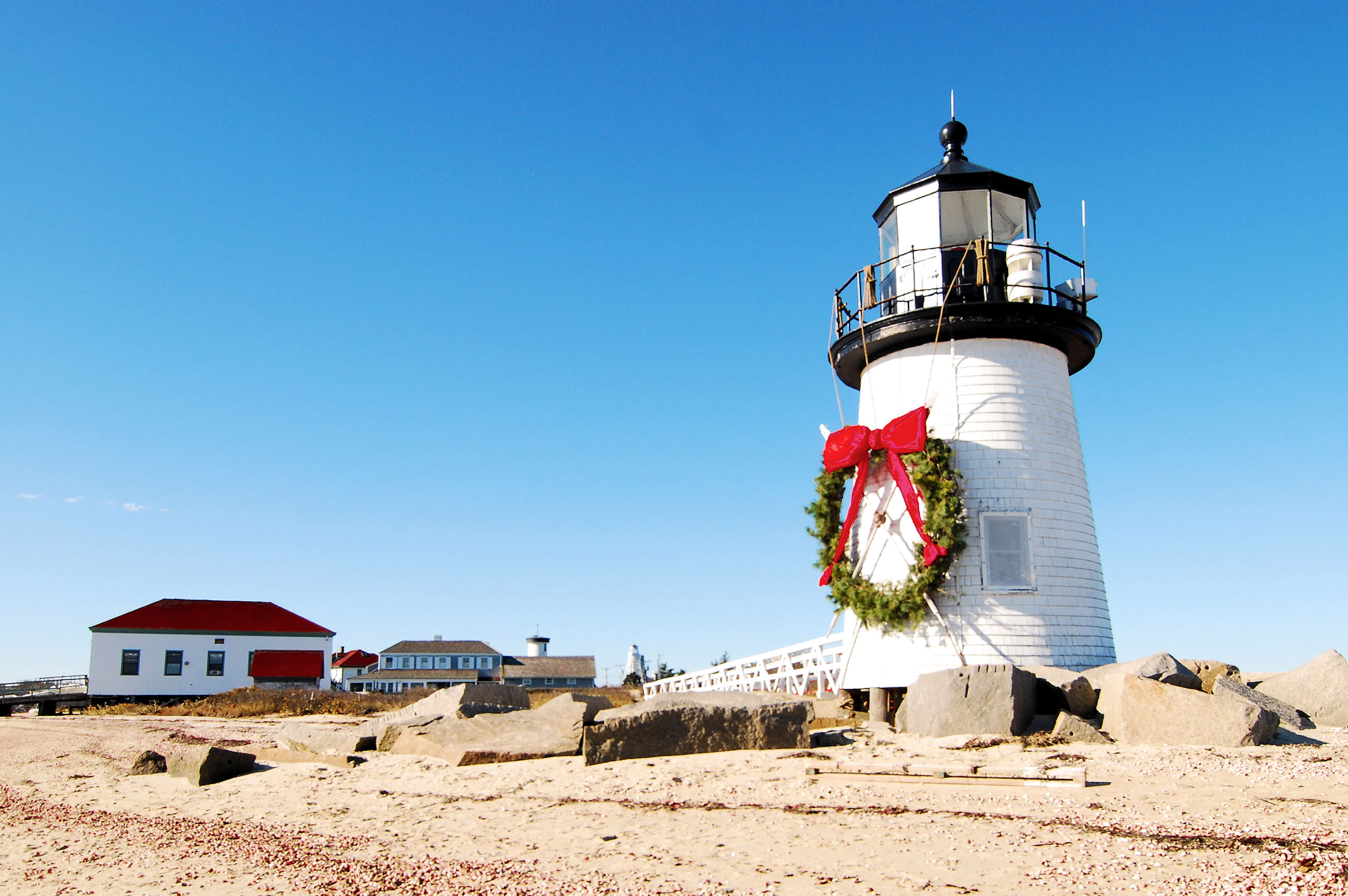 light house with giant wreath