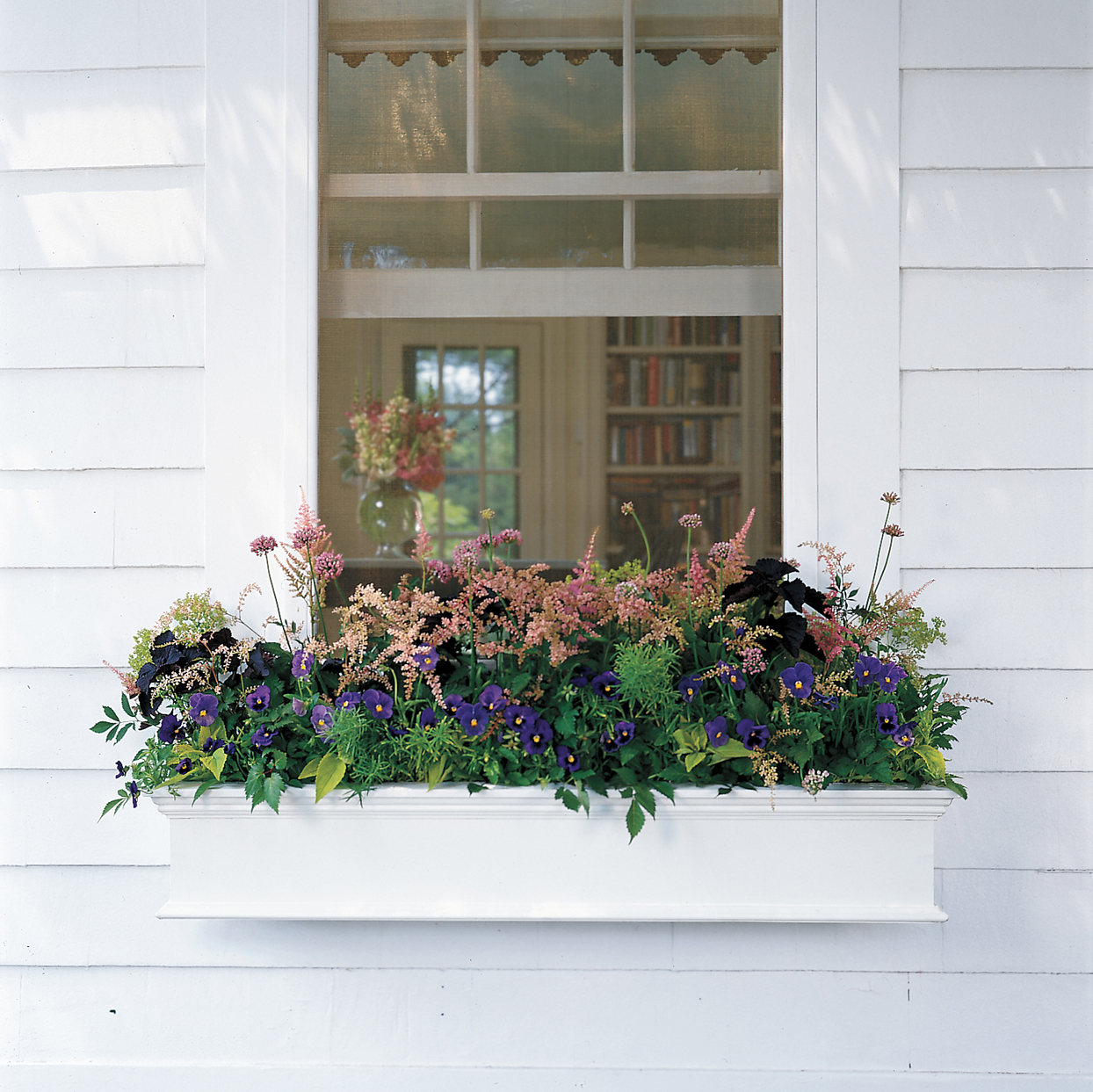 white window box with pink and purple flowers