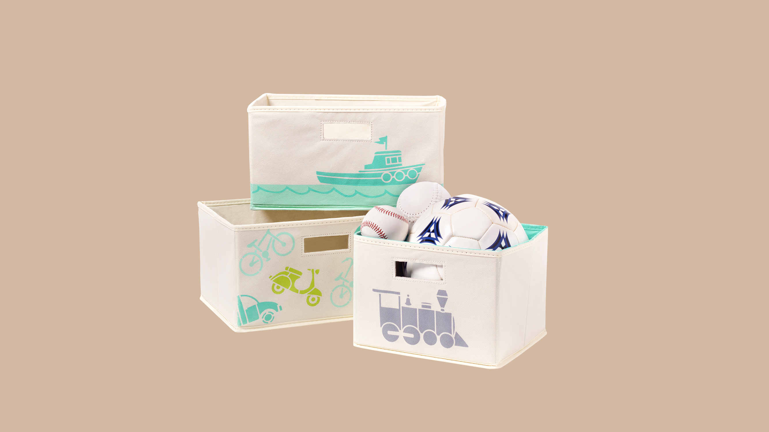 three stenciled bins filled with baseballs soccer ball