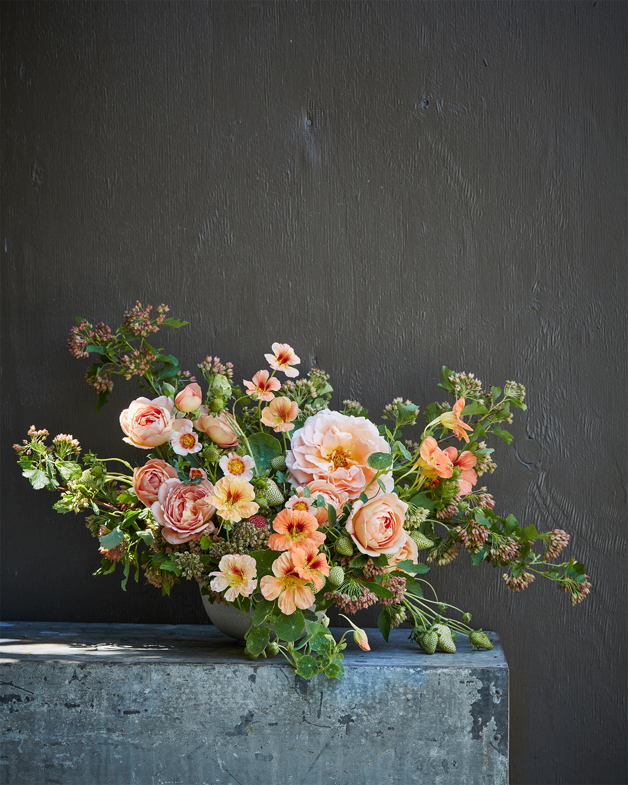 peach floral arrangement by max gill