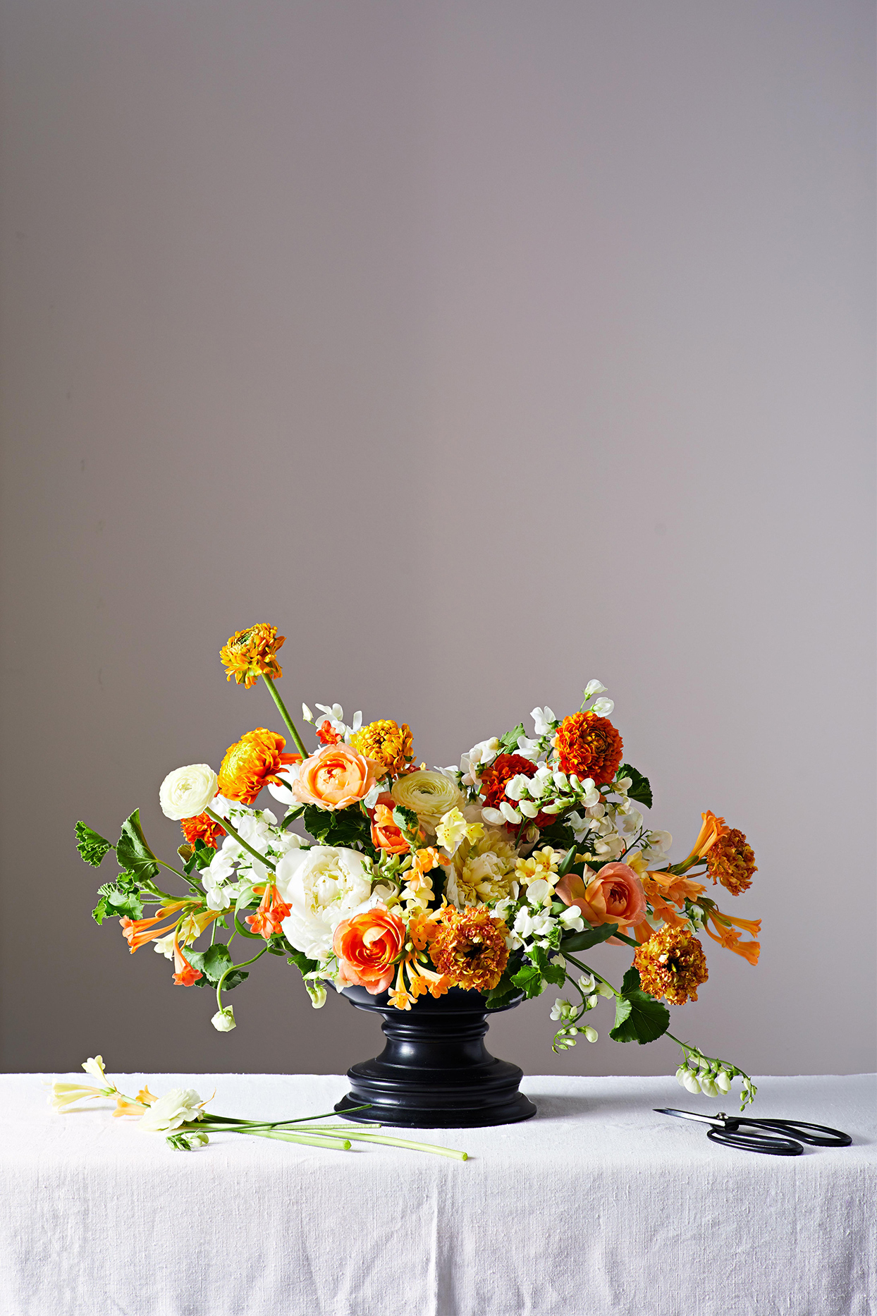 orange and white floral arrangement