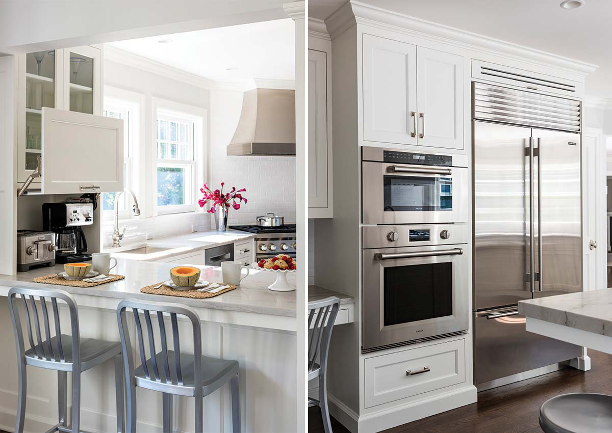 speed oven in gray and white kitchen