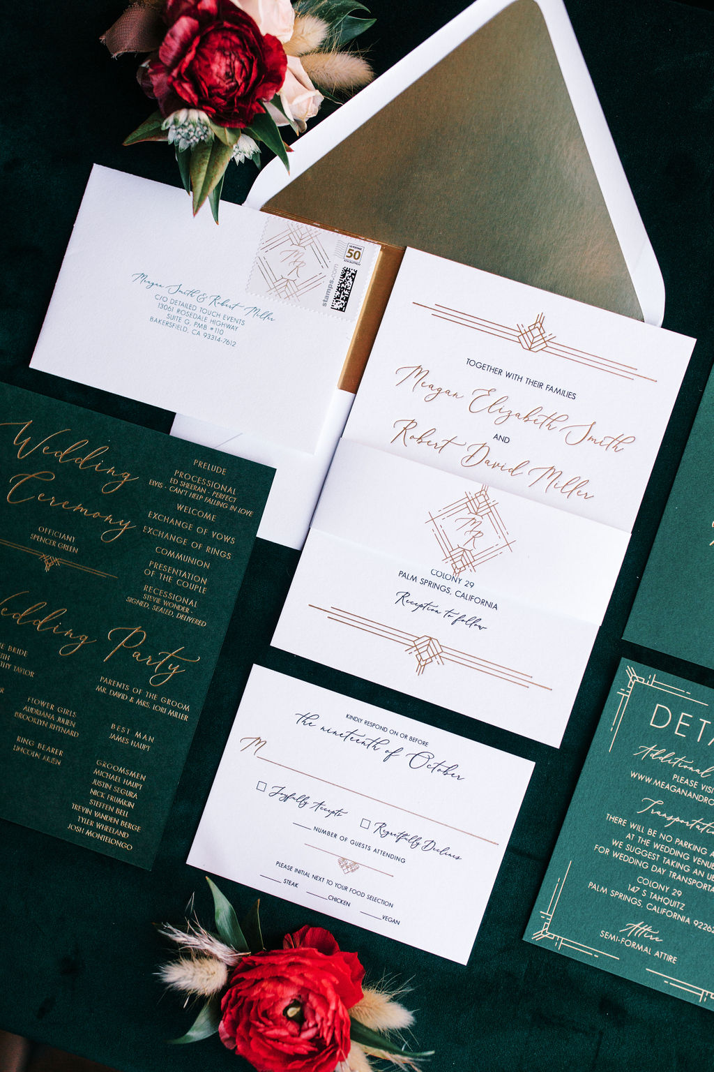 meagan robert wedding invites green and red