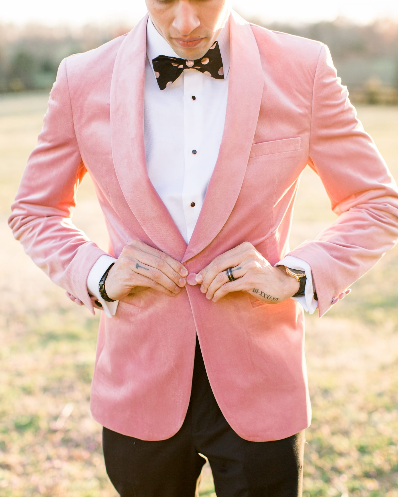 michelle nathan wedding groom wearing pink tuxedo jacket