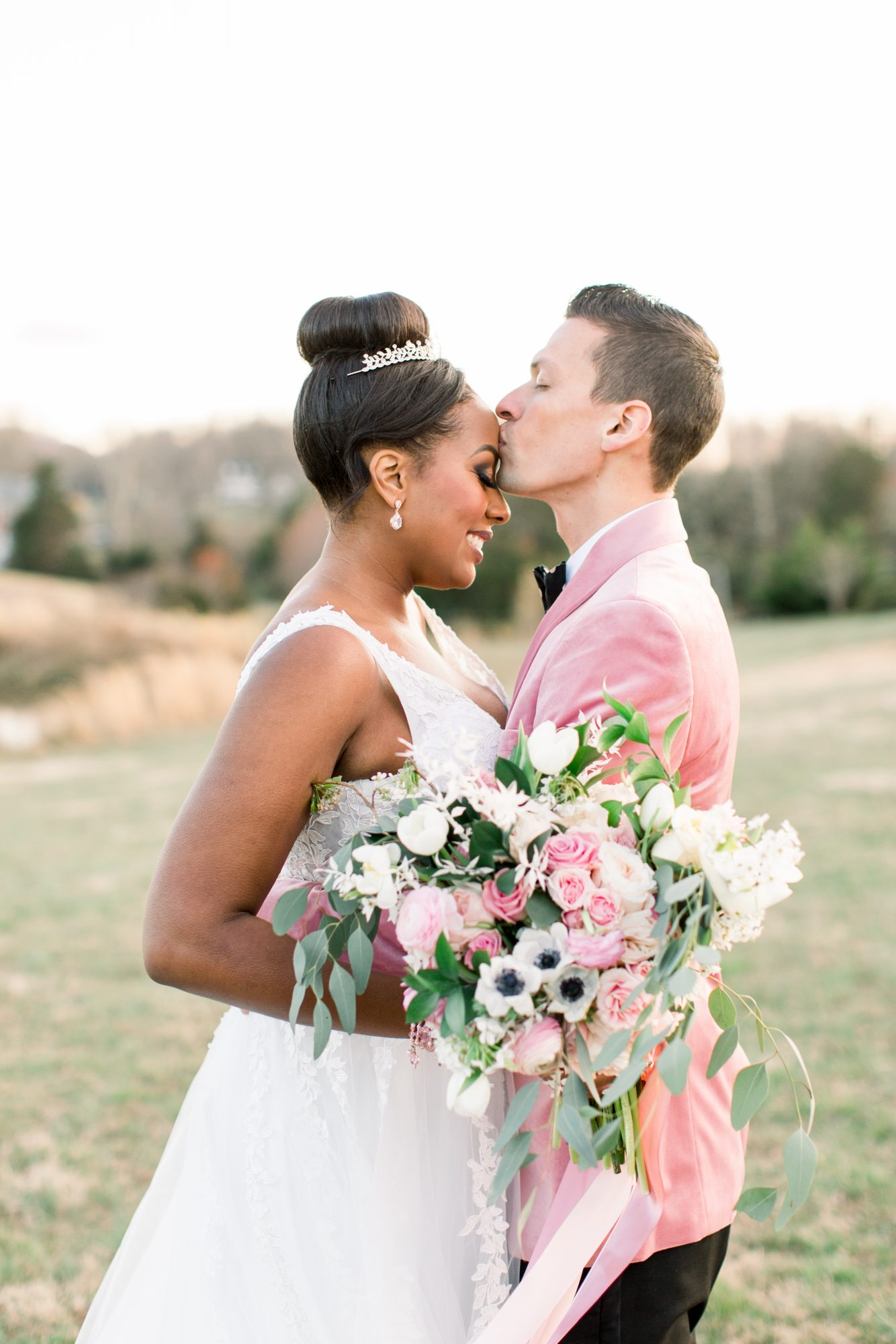 michelle nathan wedding couple portraits kissing