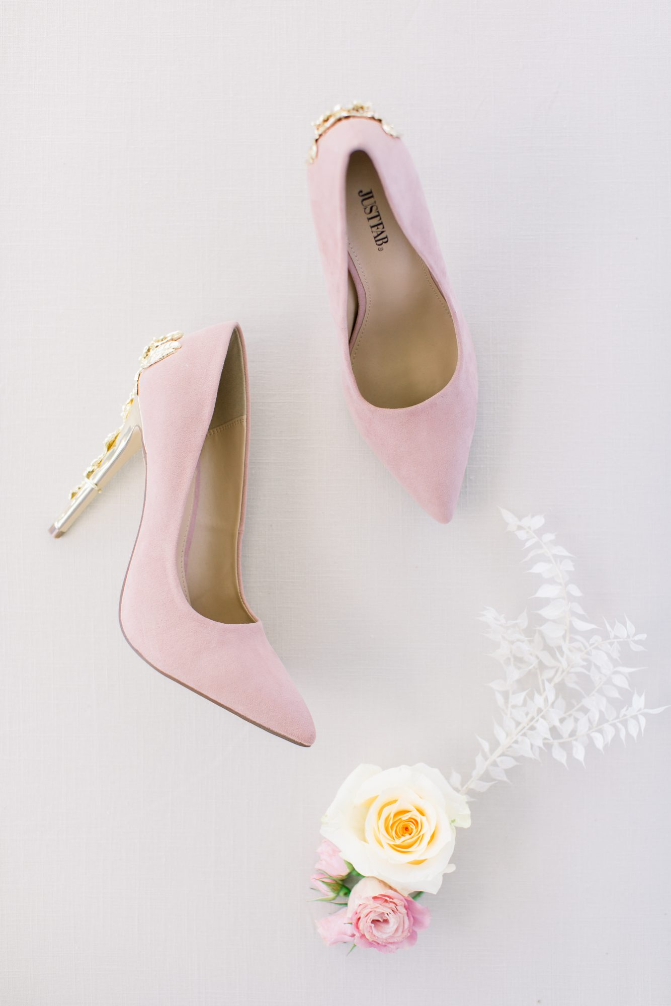 michelle nathan wedding bride's pink suede pumps
