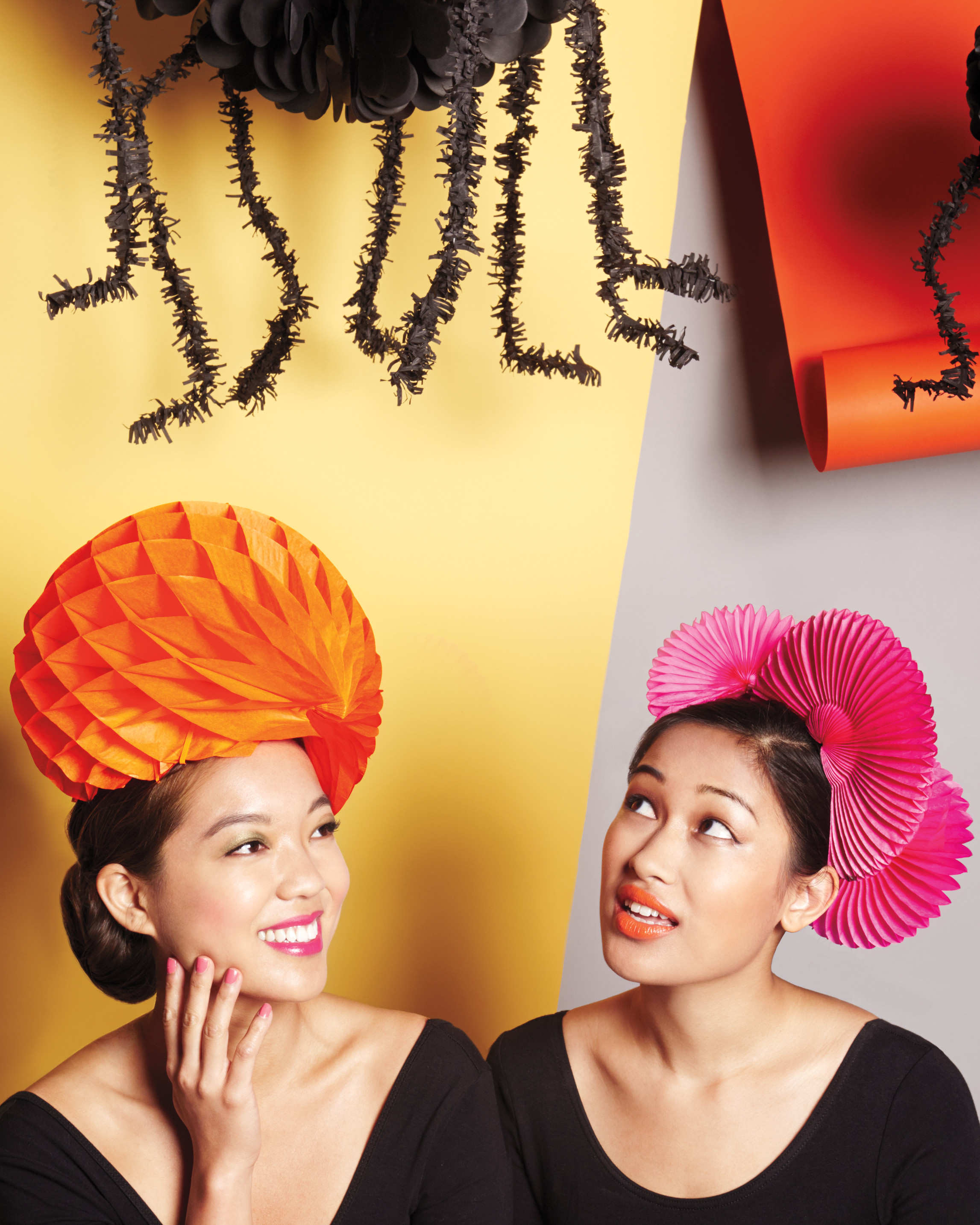 honeycomb and flower fan paper wigs for Halloween