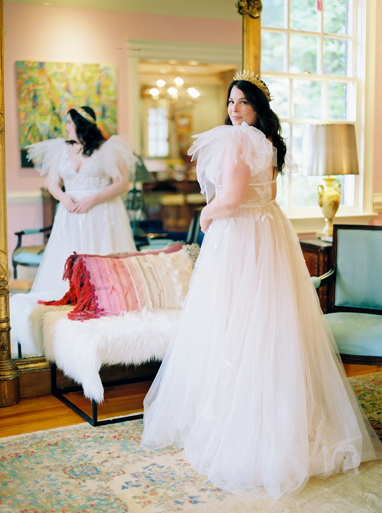 ashley scott wedding bride in fluffy dress