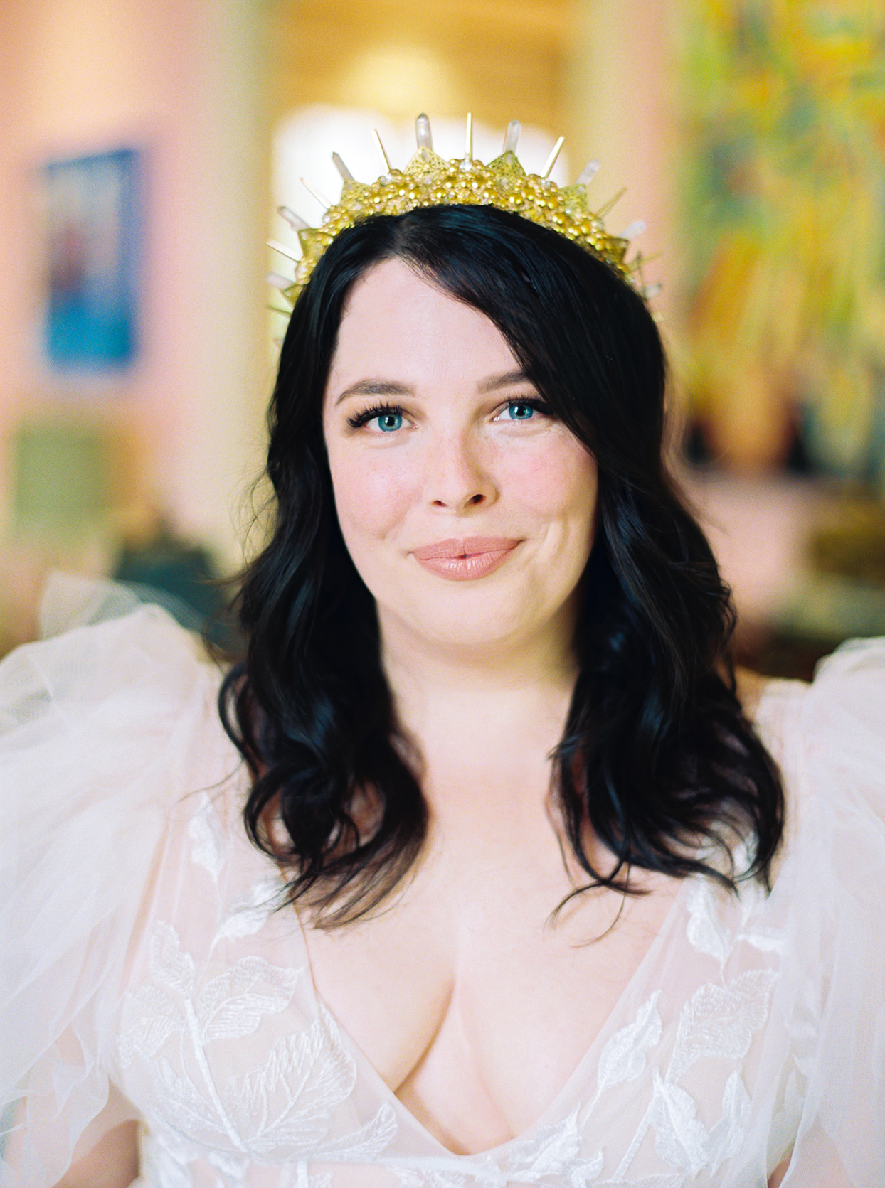 ashley scott wedding bride wearing golden crown