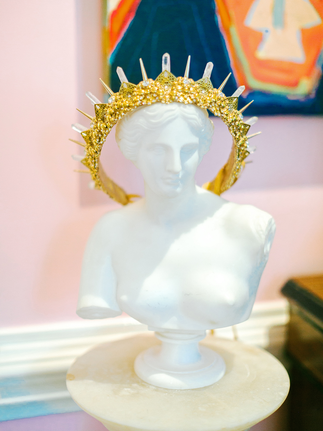 ashley scott wedding bride's crown on bust
