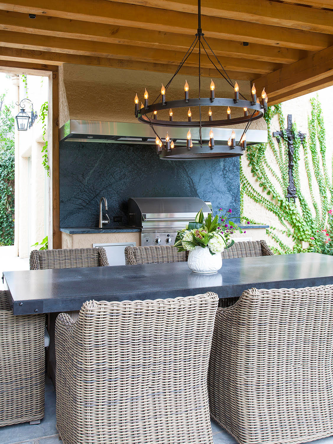 dark blue textured marble backsplash outdoors