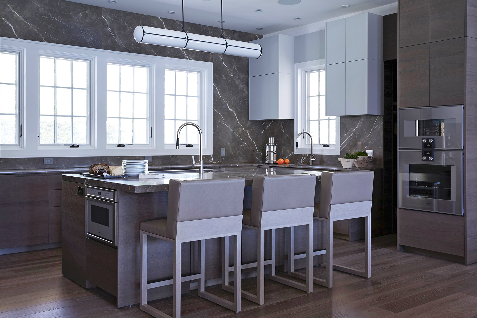 gray marble backsplash in kitchen