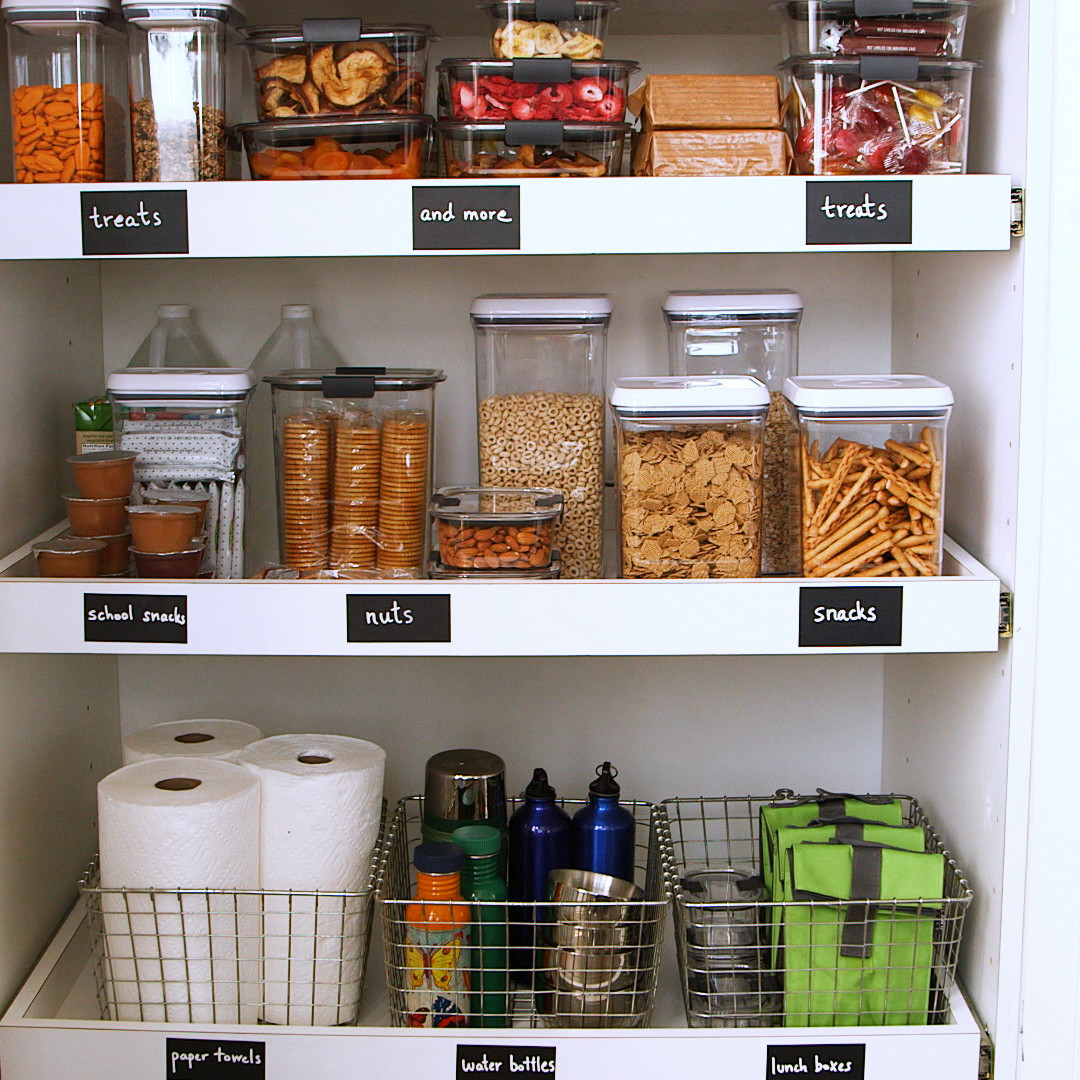 kid friendly pantry with labelled shelves