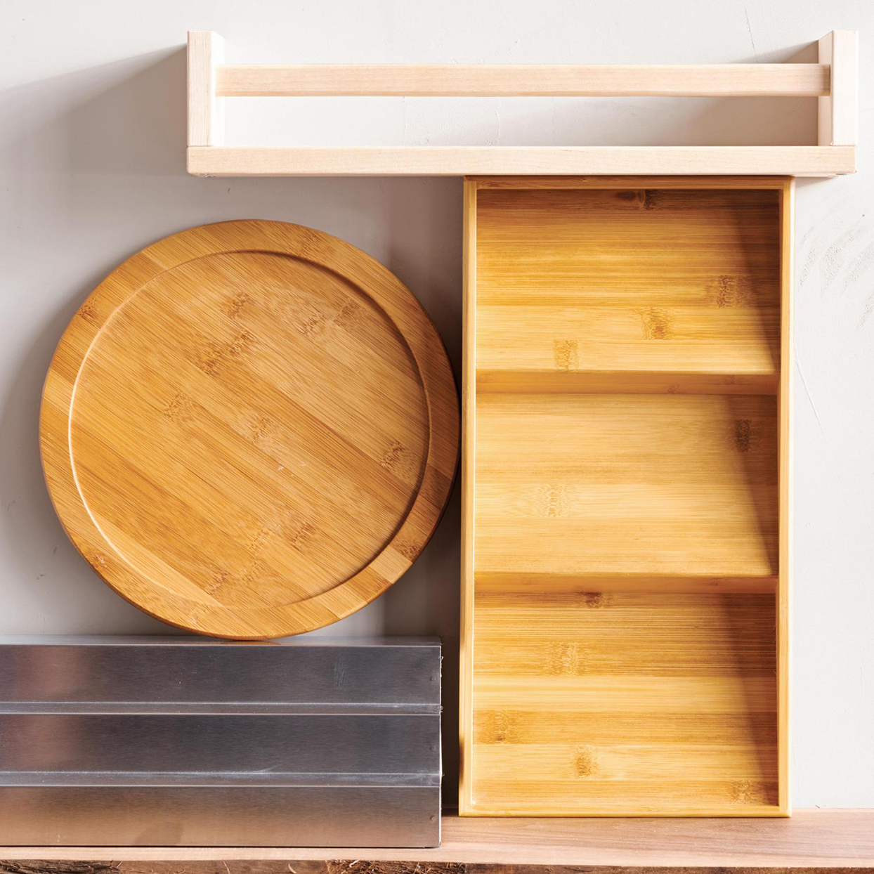 wooden and metal pantry spice racks