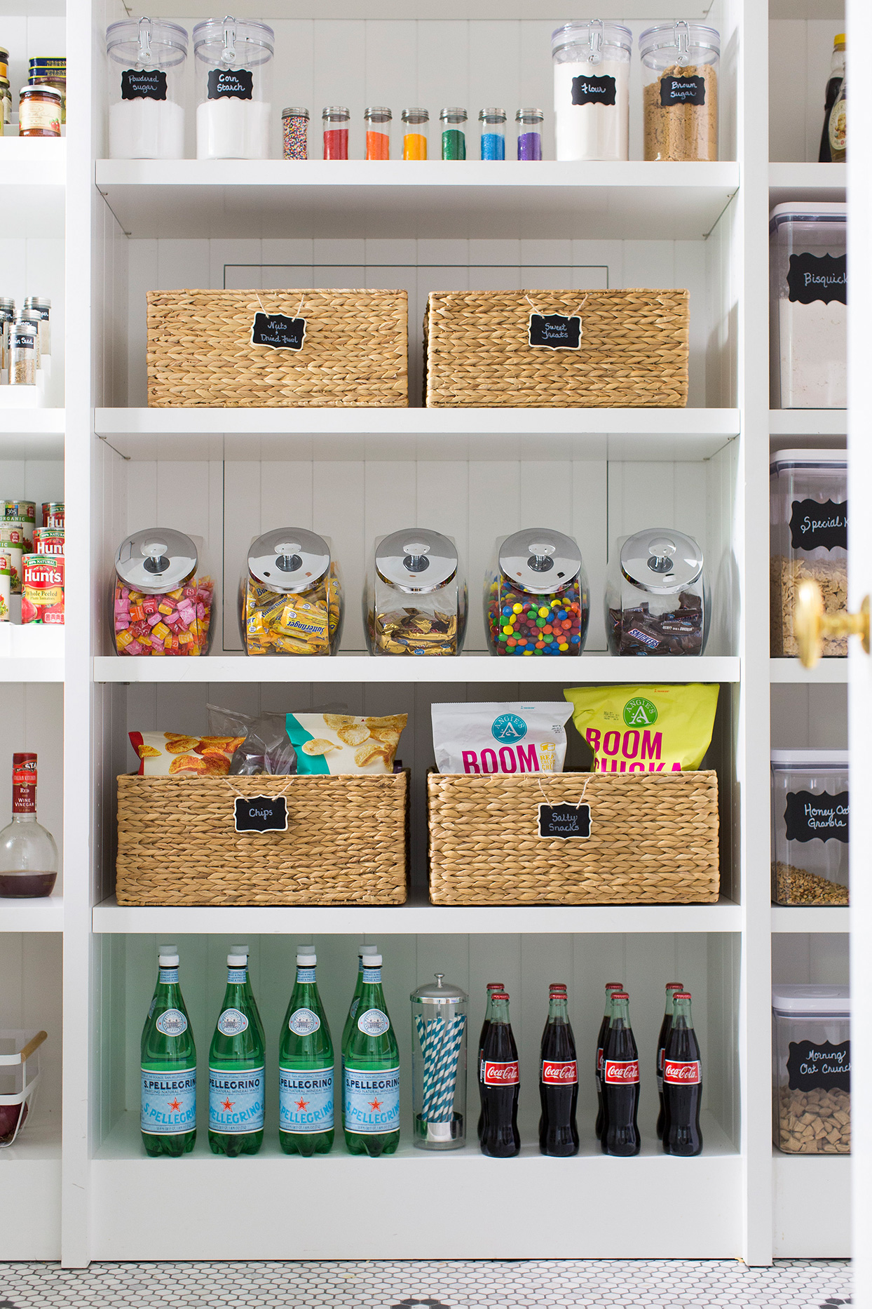 labelled woven pantry baskets
